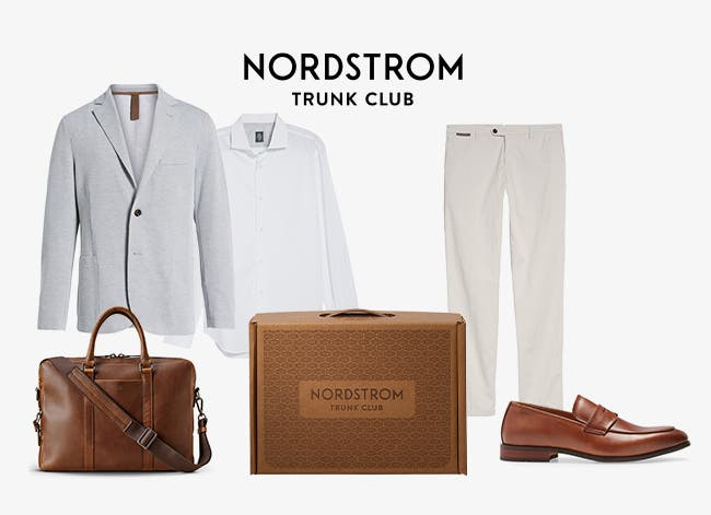Trunk with men's outfit chosen by a Trunk Club stylist: jacket, button-down shirt, pants, loafer and briefcase.