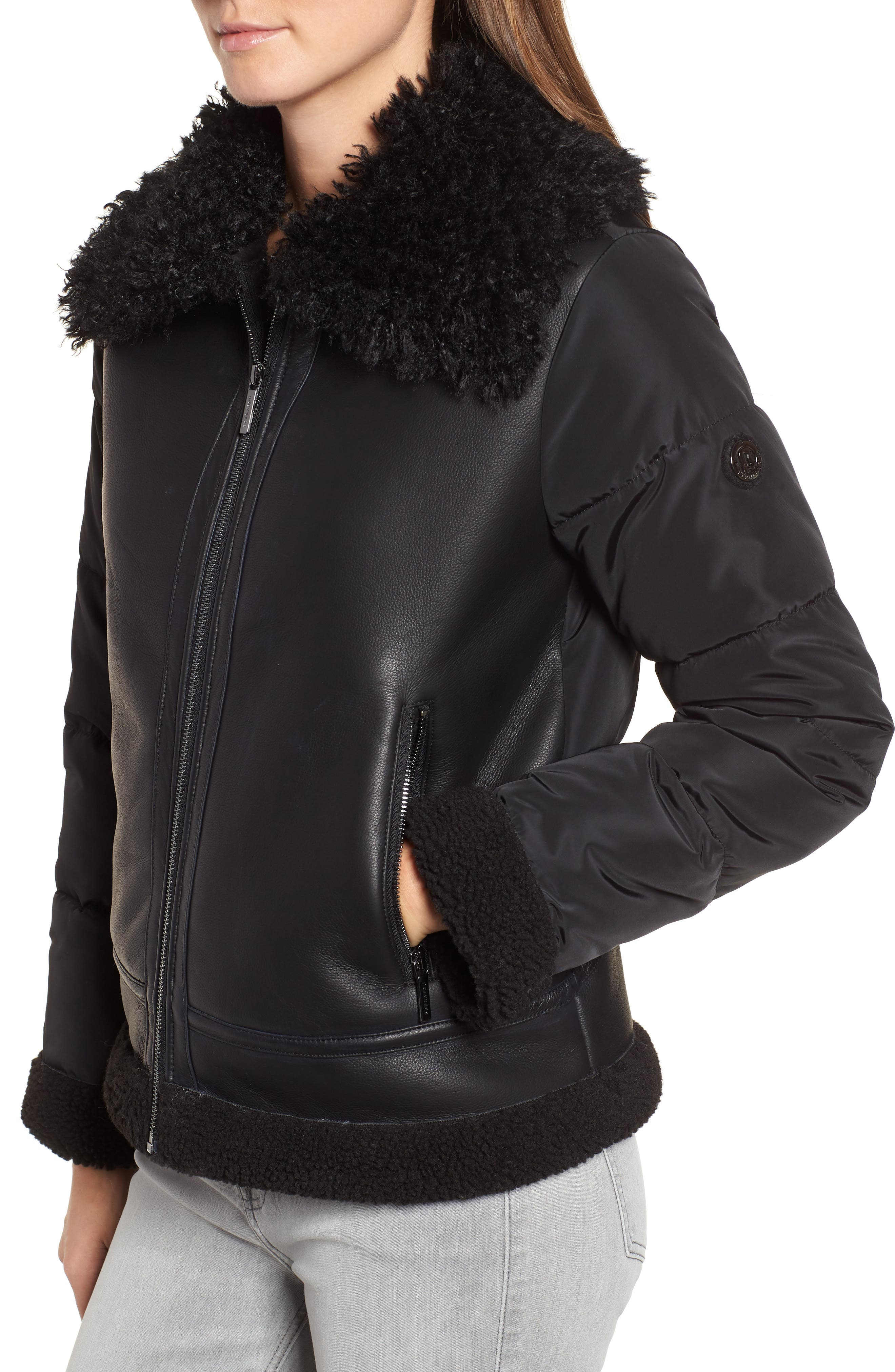 Faux Shearling Hybrid Jacket,                             Alternate thumbnail 4, color,                             BLACK