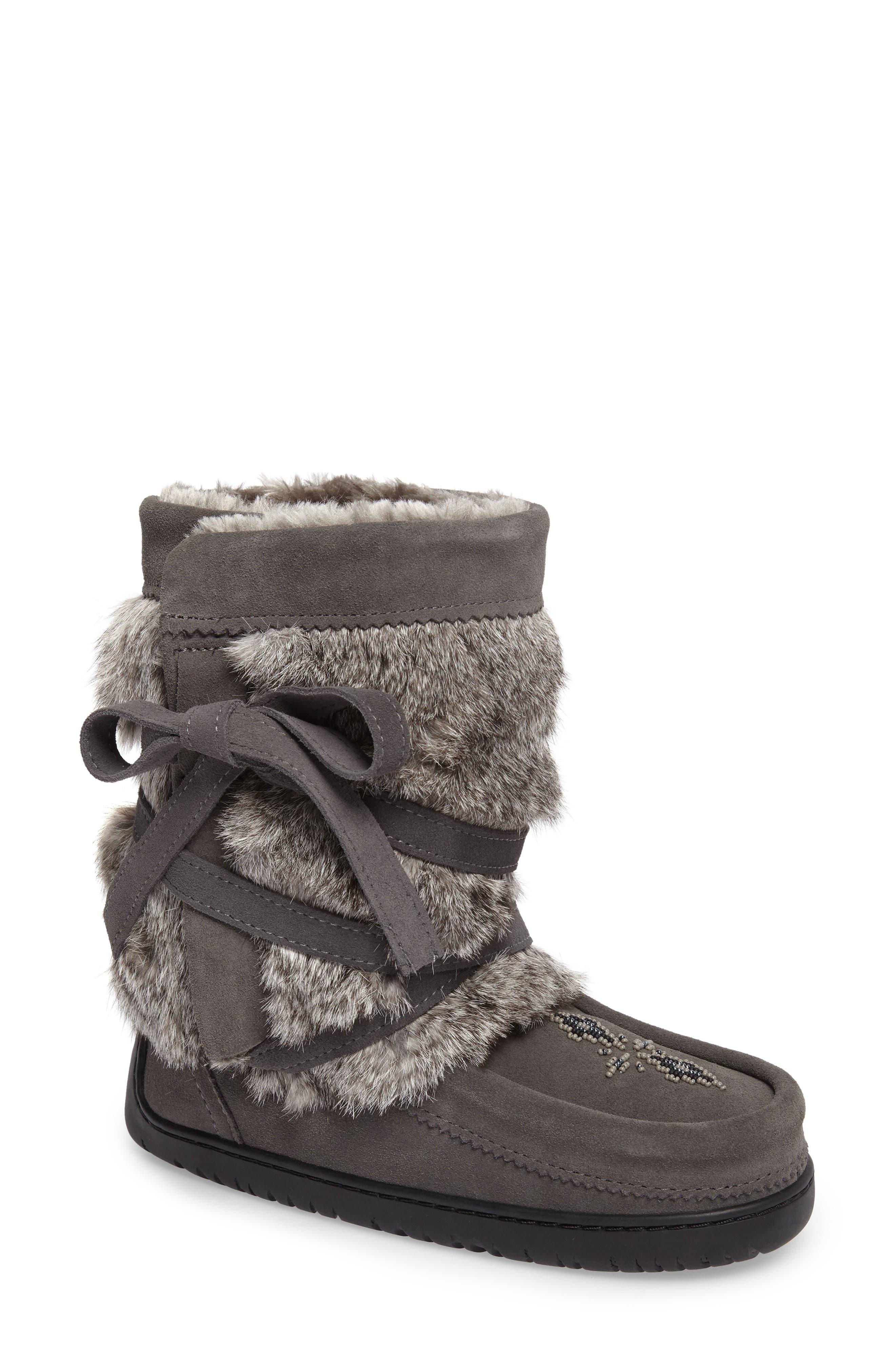 Beaded Short Wrap Genuine Rabbit Fur & Shearling Boot,                         Main,                         color, CHARCOAL FUR