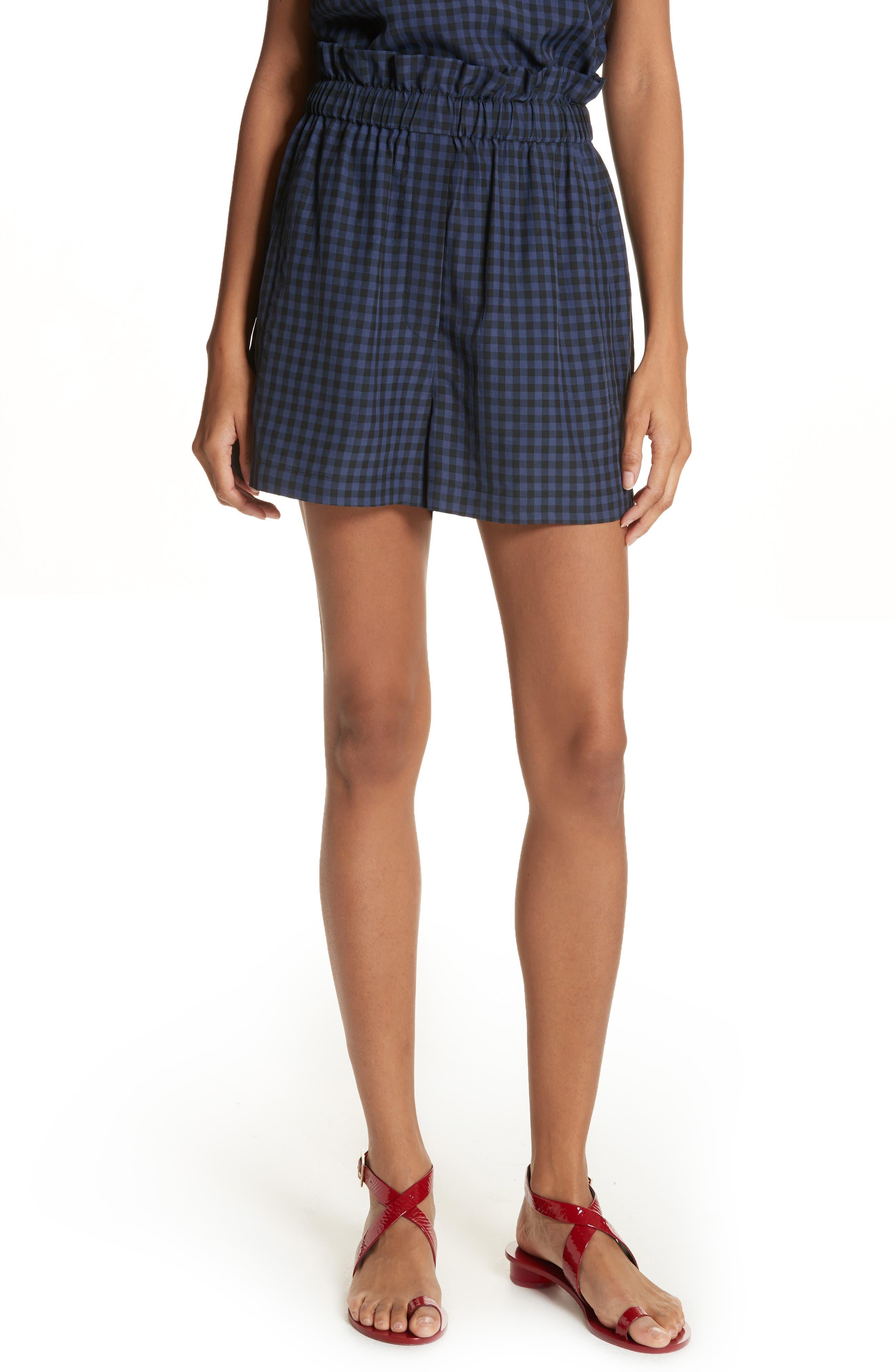 Gingham Paperbag Waist Shorts,                             Main thumbnail 1, color,                             NAVY MULTI