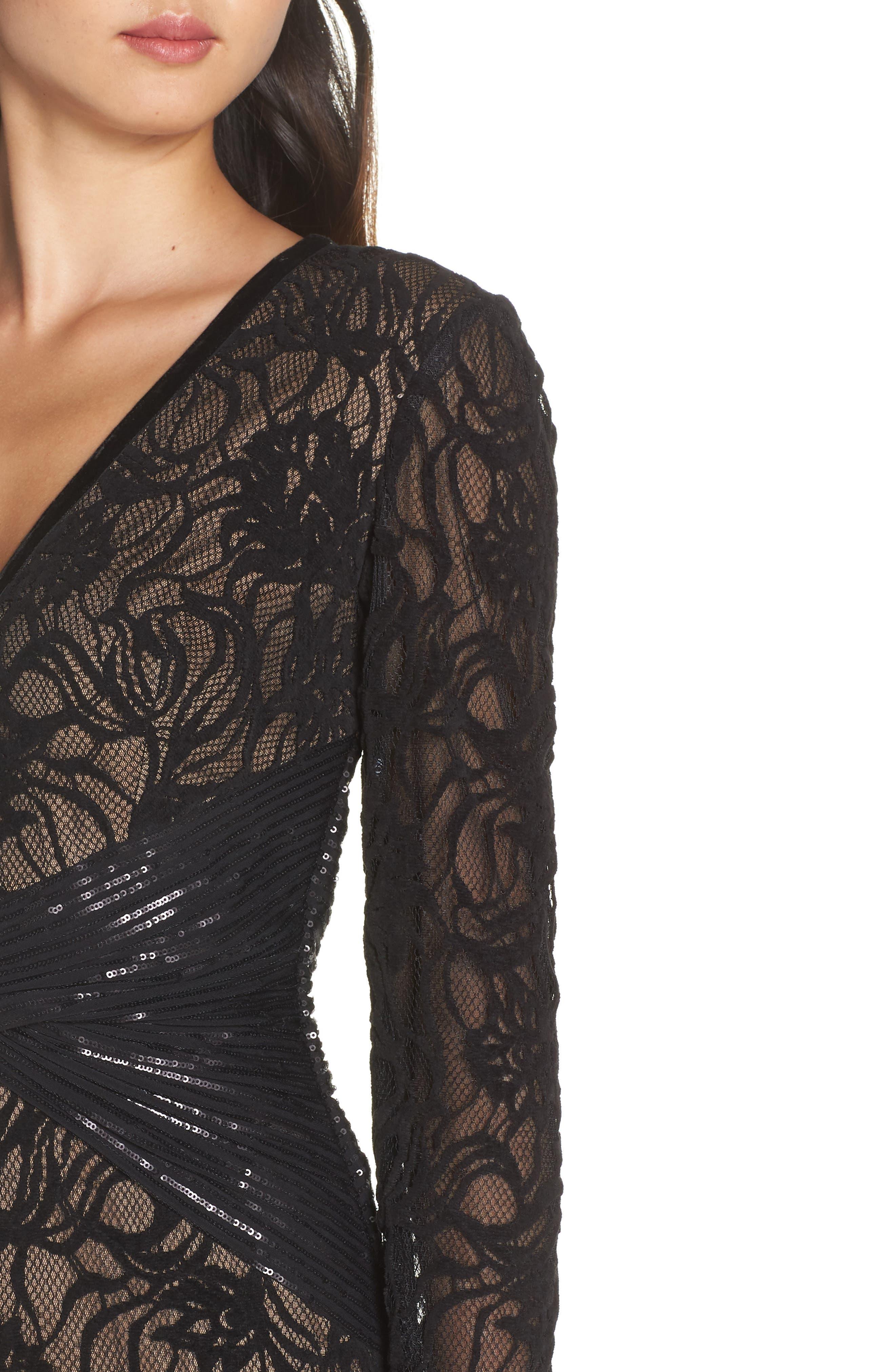 Burnout Lace Gown,                             Alternate thumbnail 4, color,                             BLACK/ NUDE