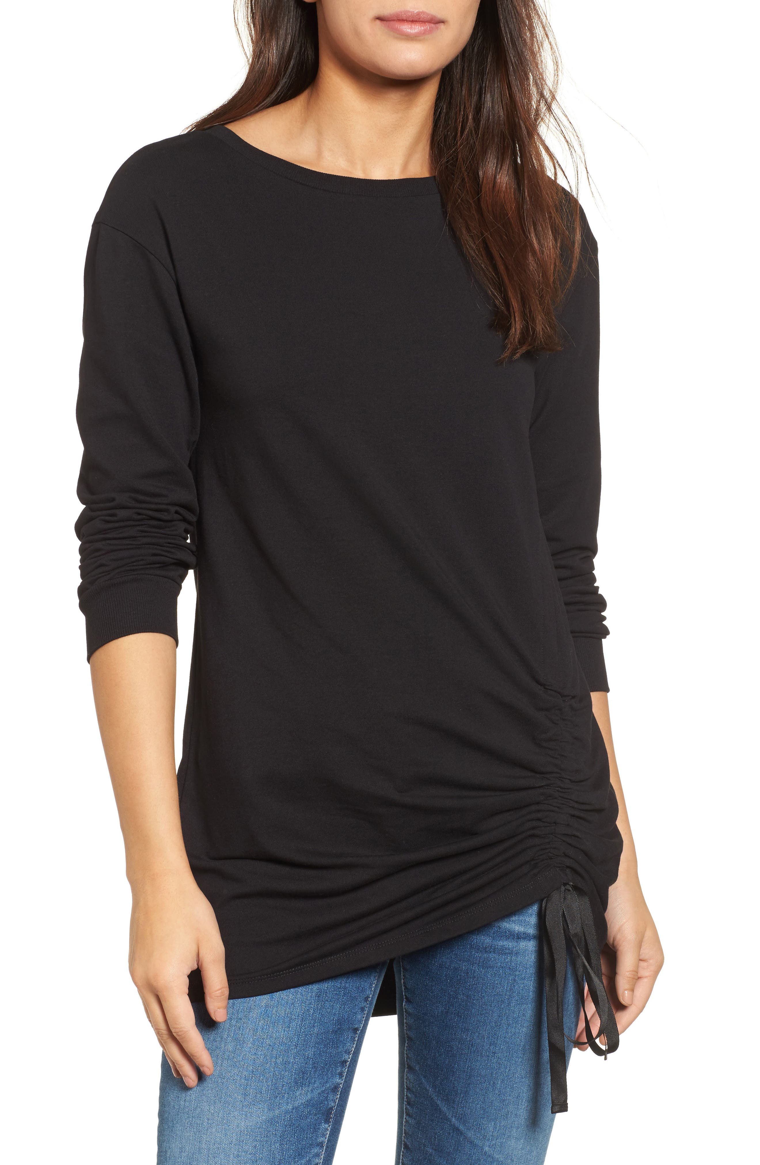 Ruched Front Tunic Sweatshirt,                             Main thumbnail 1, color,