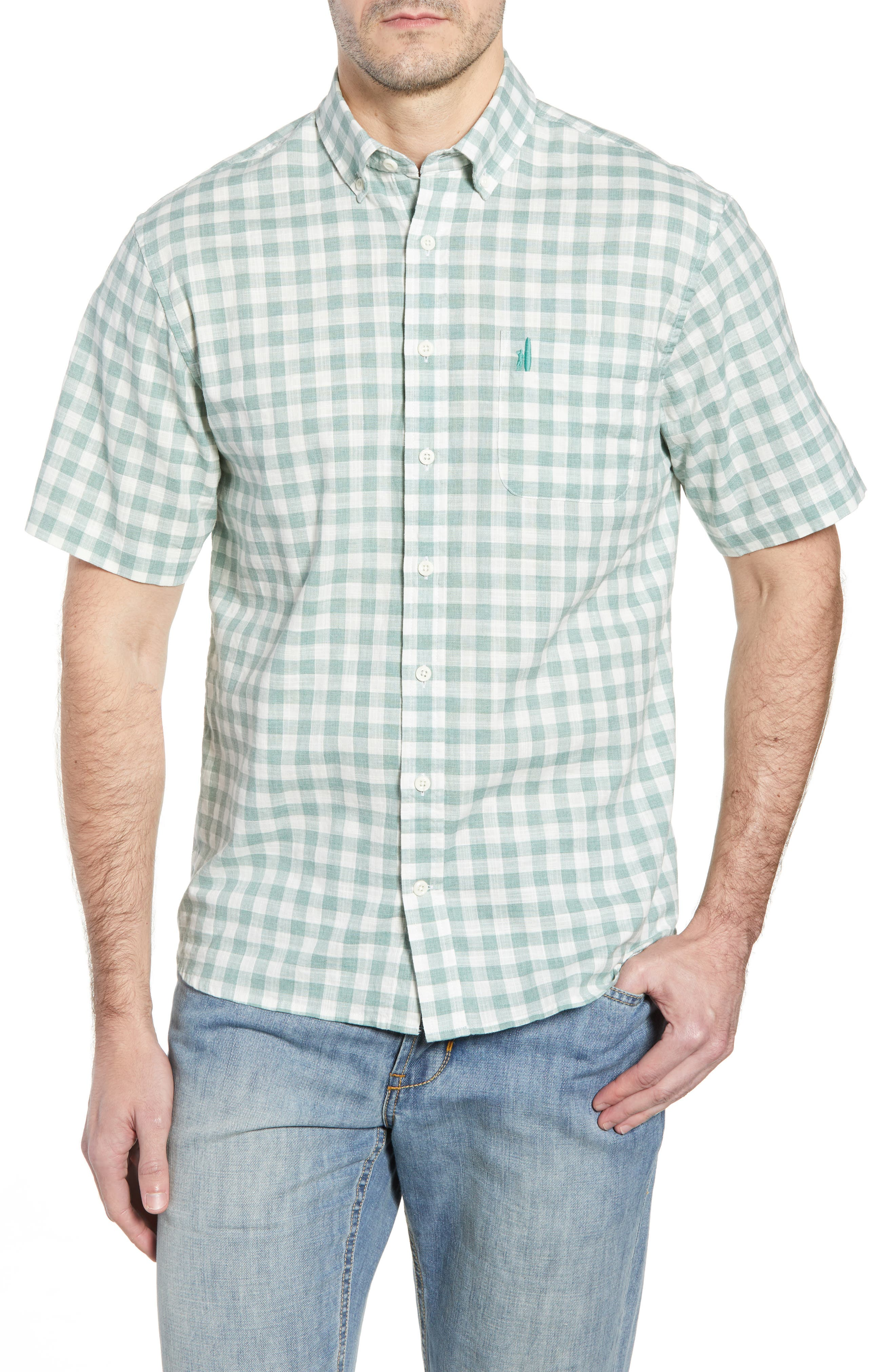 Watts Classic Fit Gingham Sport Shirt,                         Main,                         color, CLOVER
