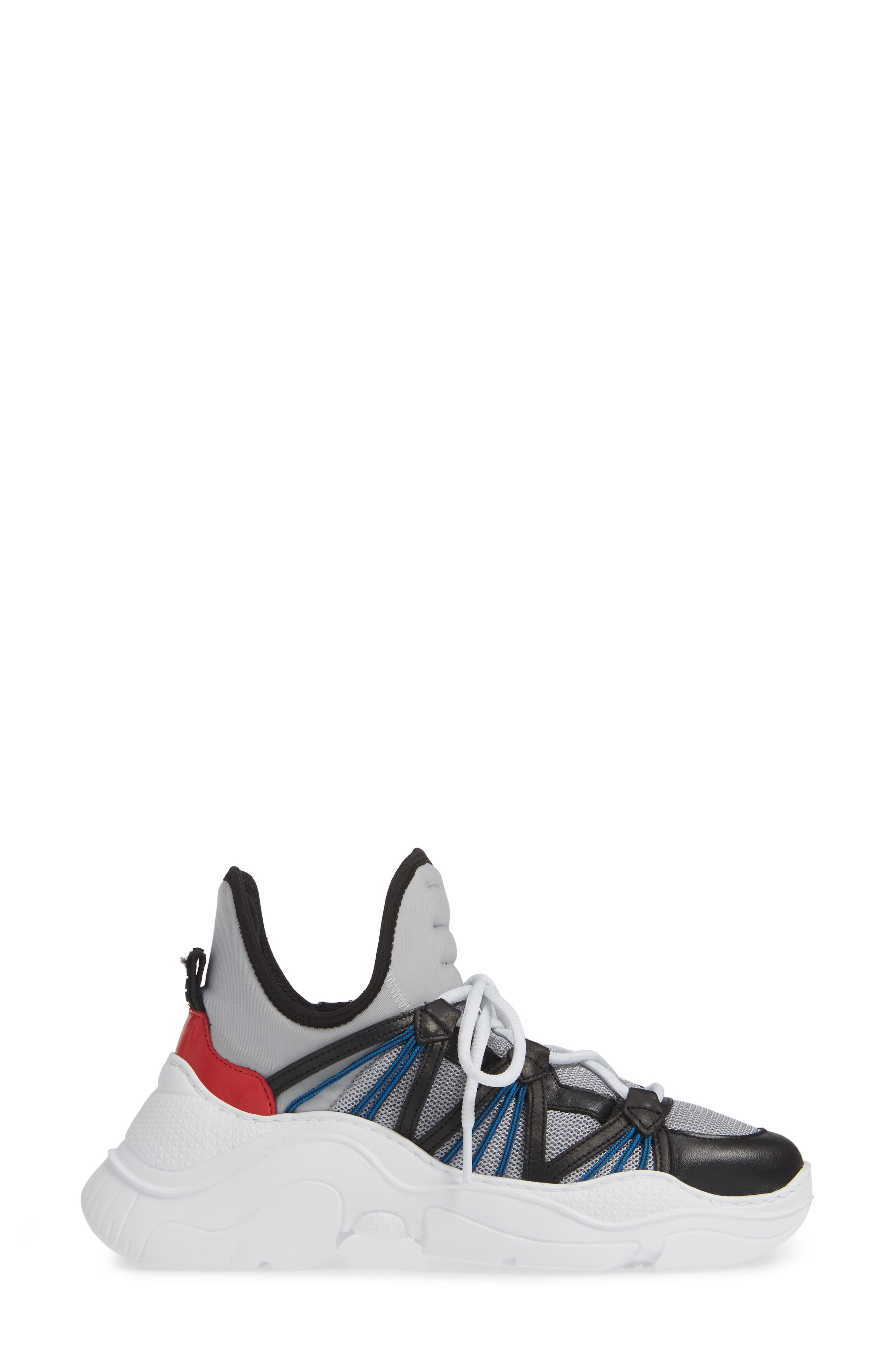 Anick Lace-Up Sneaker,                             Alternate thumbnail 3, color,                             SILVER/ BLACK/ CLUB RED