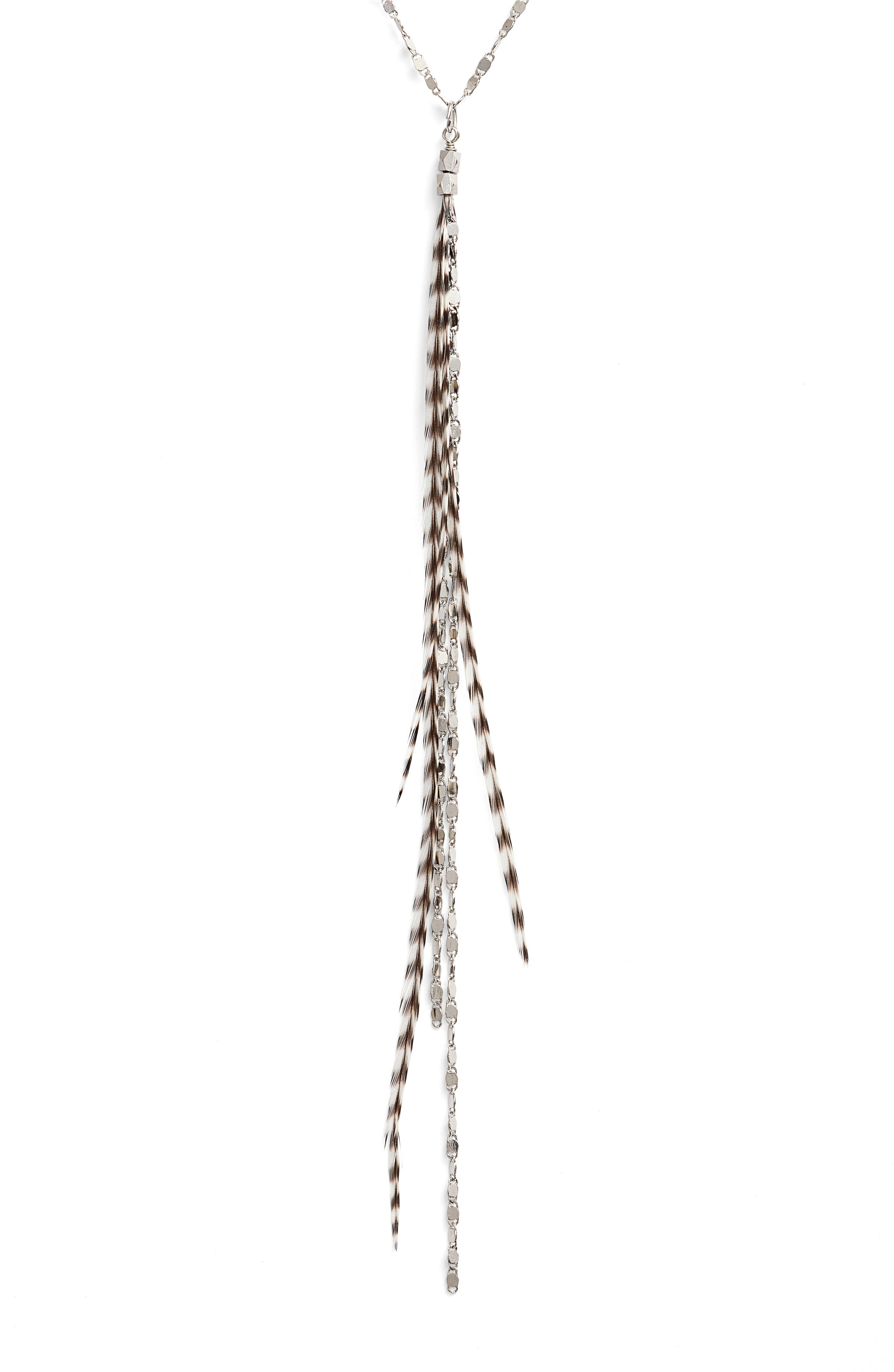 Glistening Feather Y Necklace,                             Main thumbnail 1, color,                             040