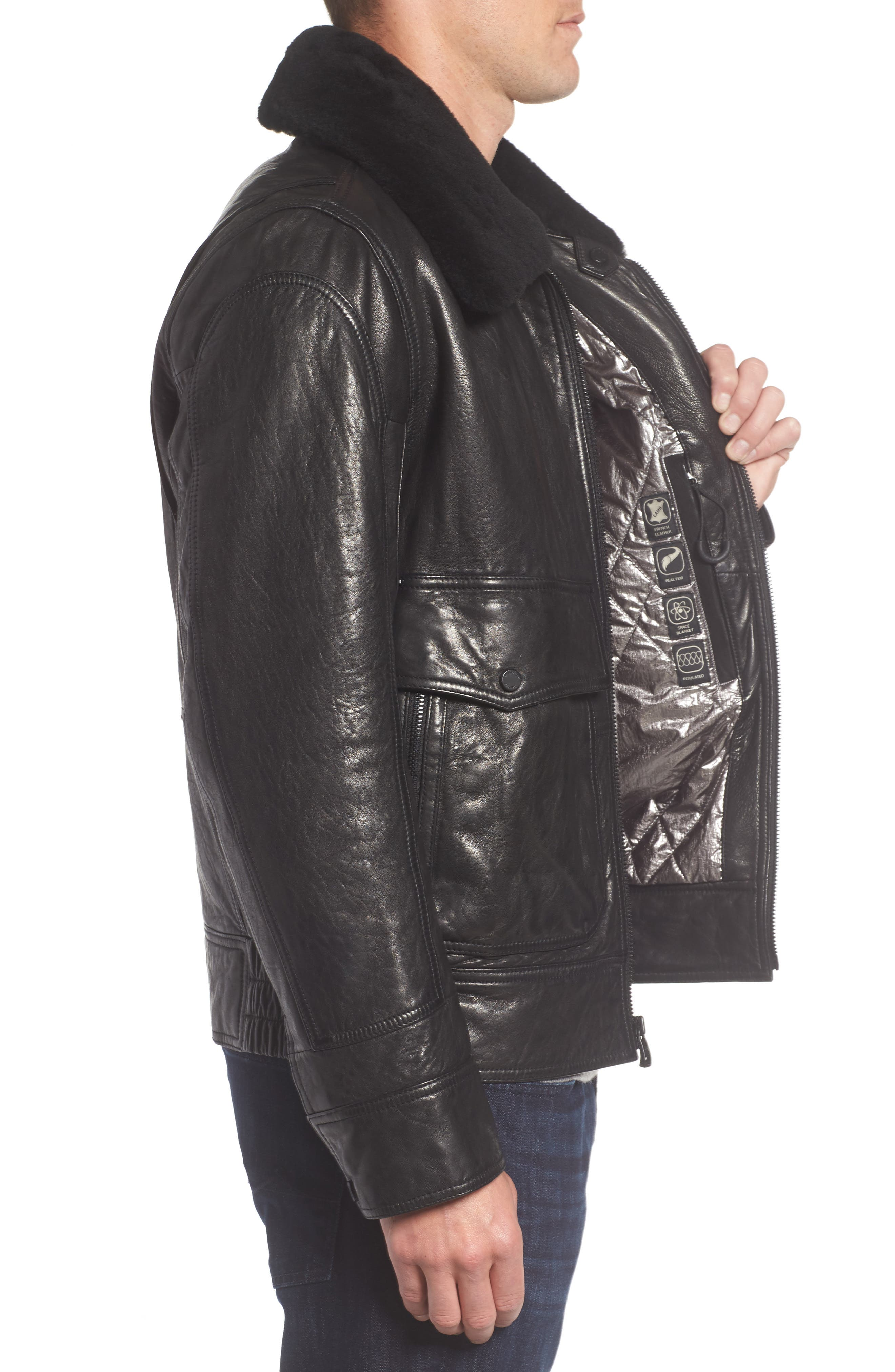 3614 Leather Jacket with Genuine Lamb Shearling Collar,                             Alternate thumbnail 3, color,                             001