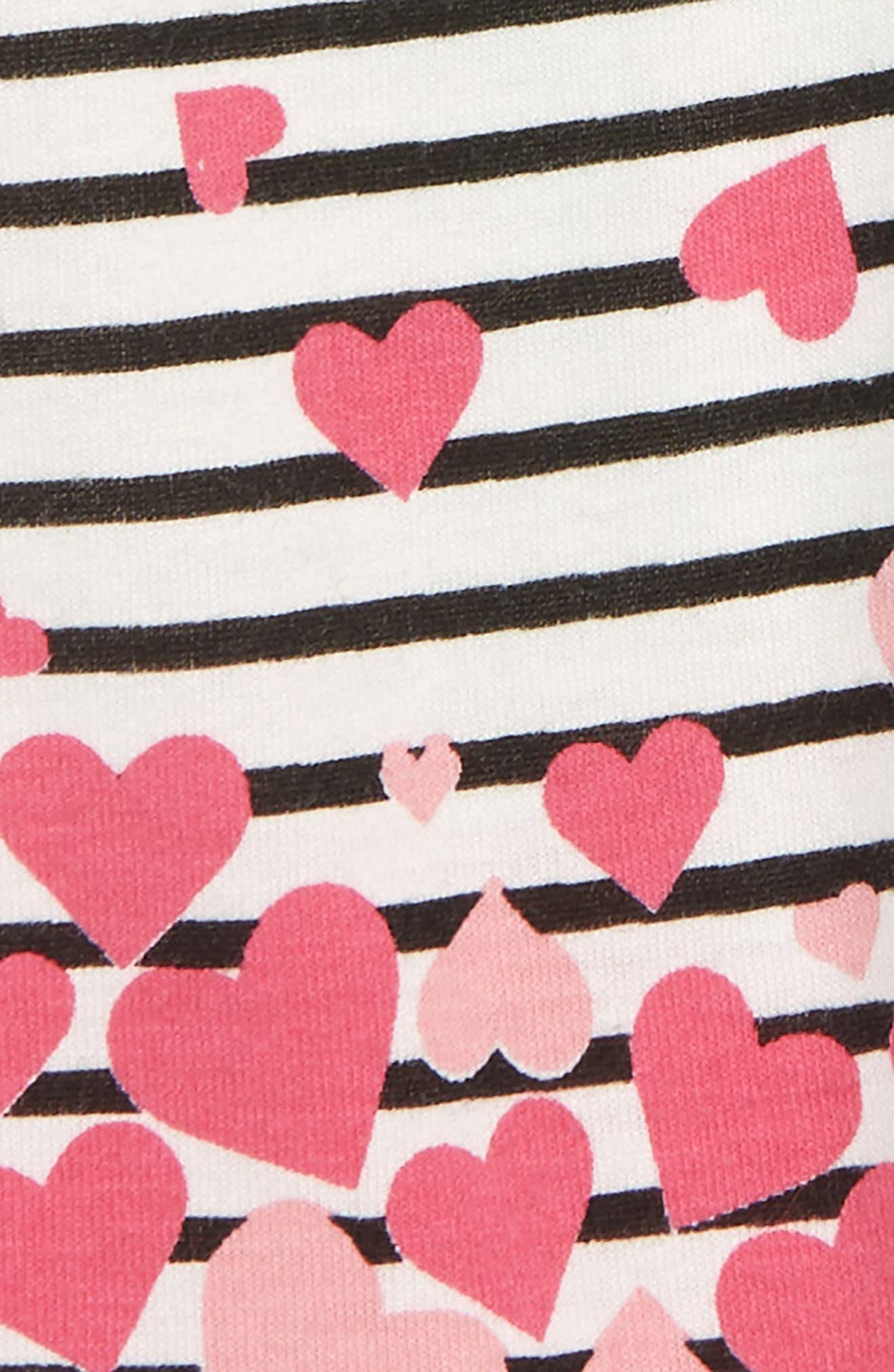 Heart Stripe Leggings,                             Alternate thumbnail 2, color,                             IVORY EGRET- BLACK STRIPE