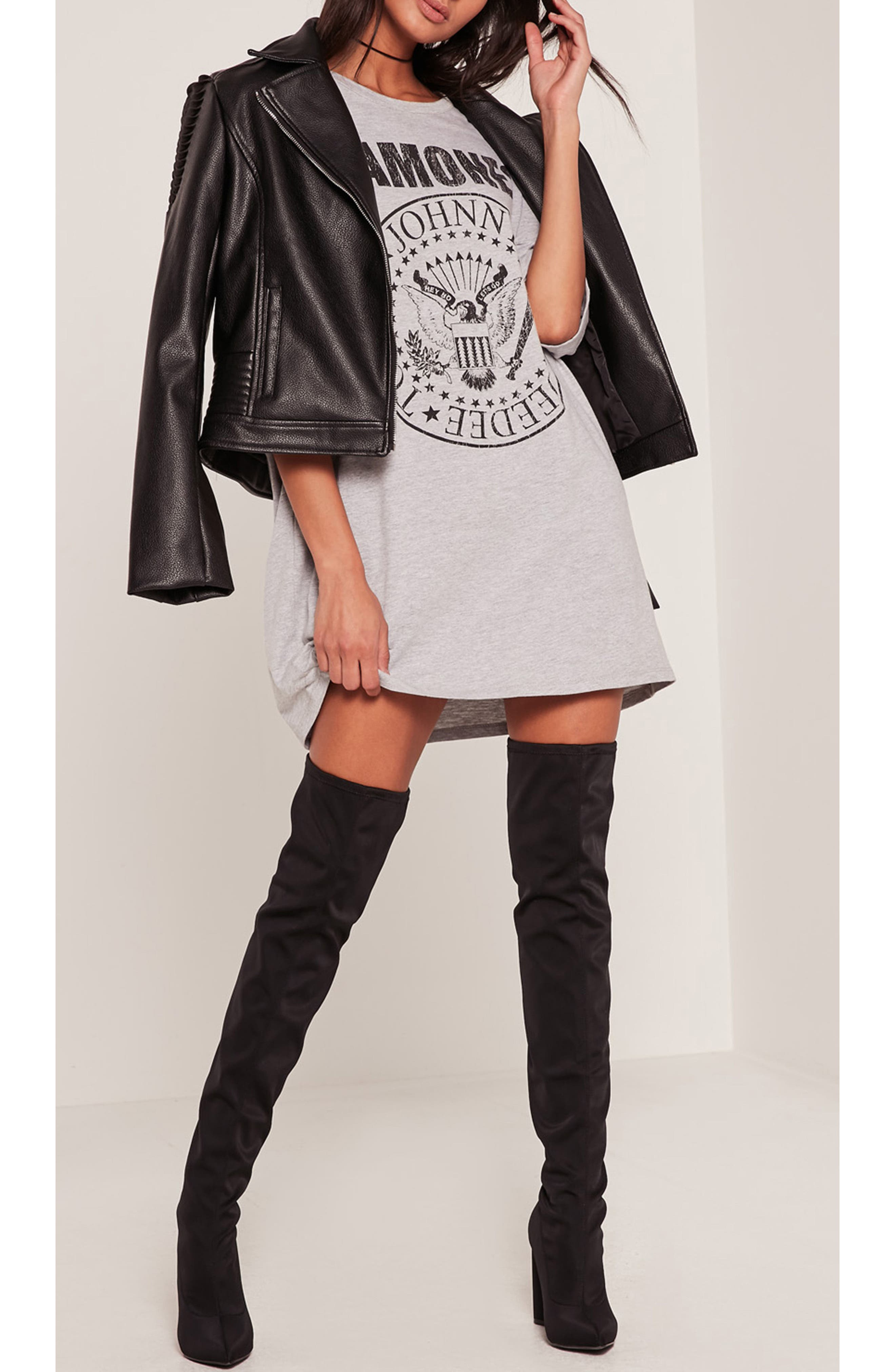 Ramones T-Shirt Dress,                             Alternate thumbnail 4, color,                             060