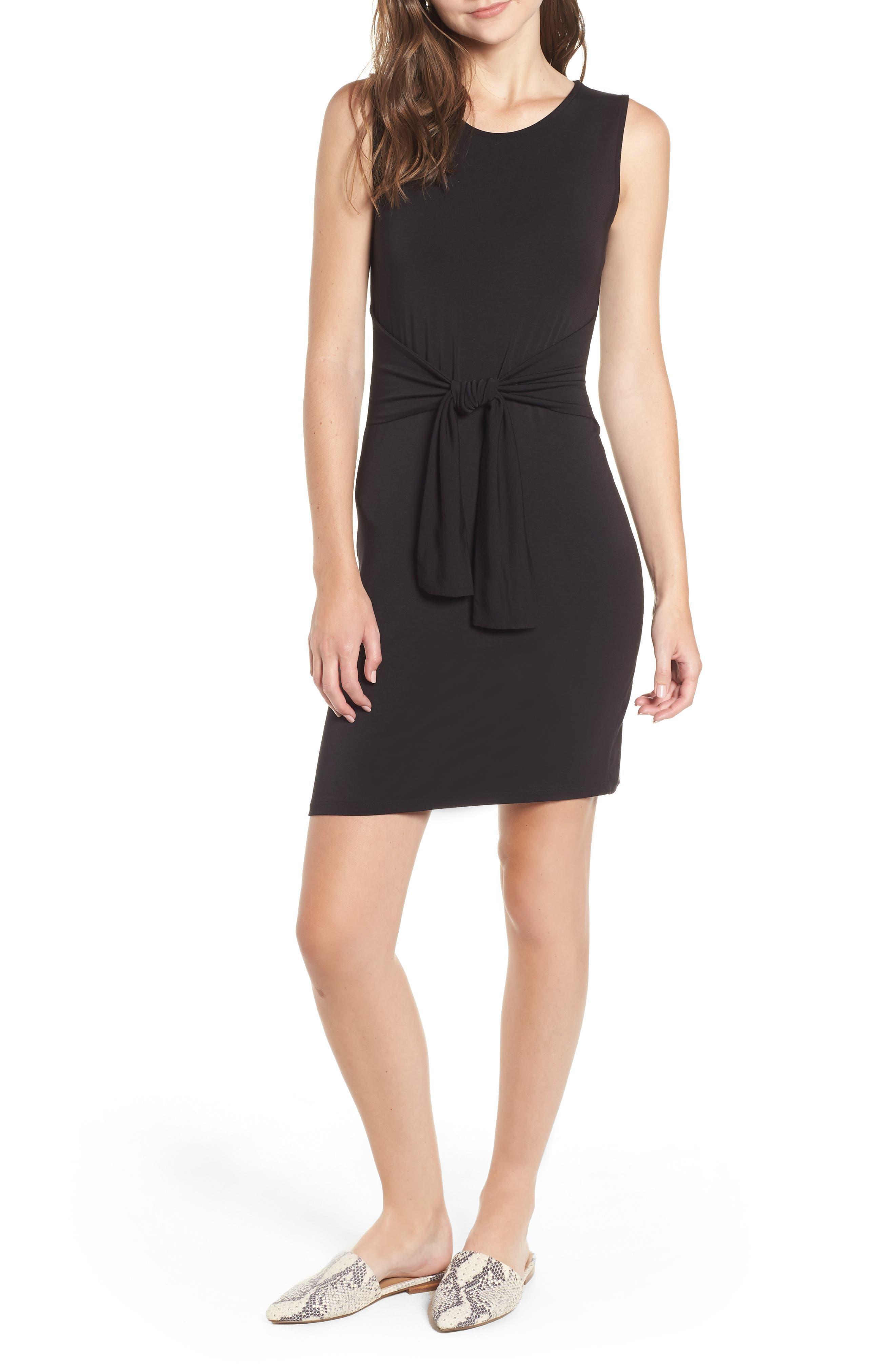 Tie Waist Body-Con Dress,                             Main thumbnail 1, color,                             BLACK