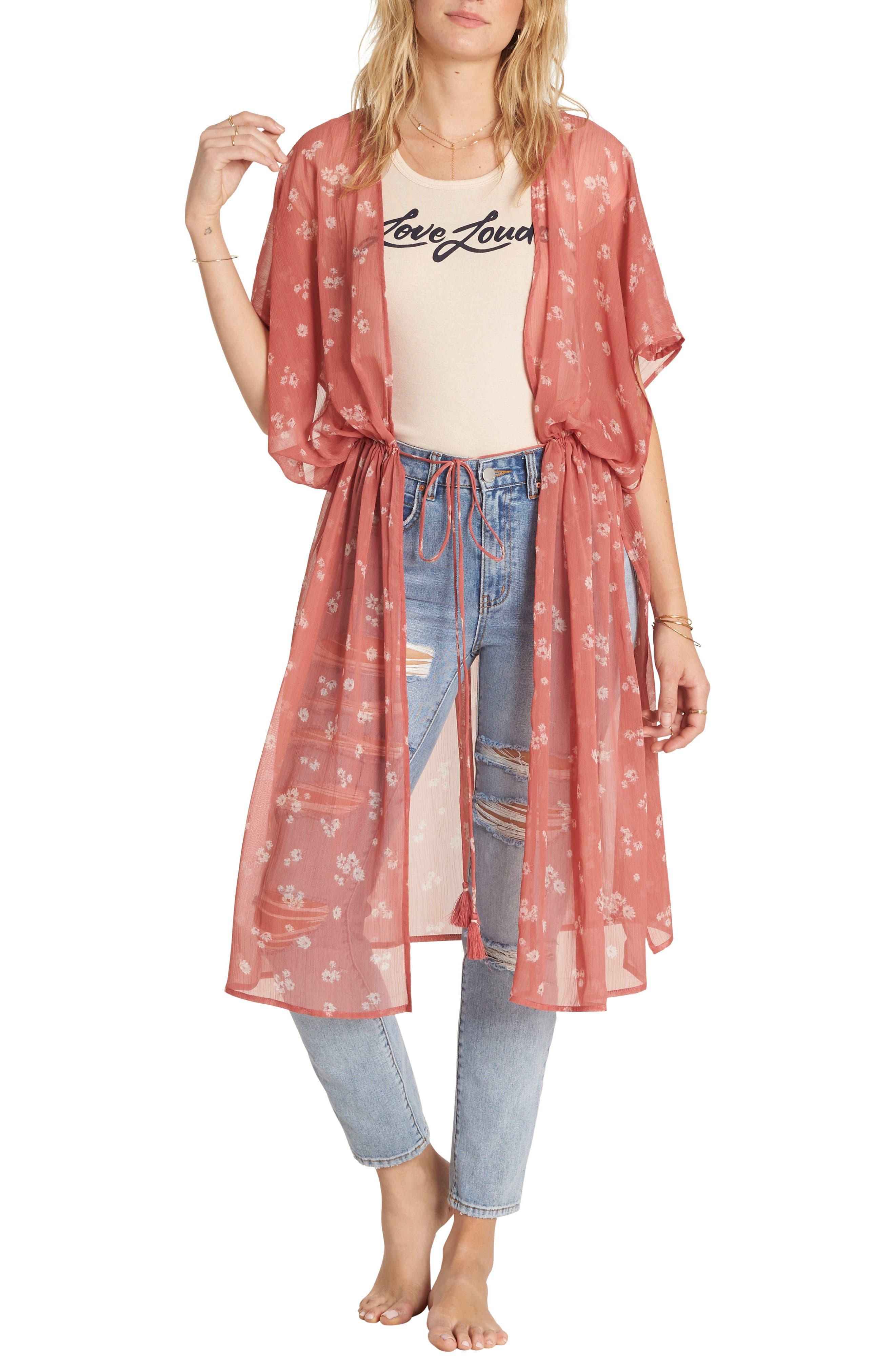 Bilabong Calley's Sea Floral Kimono,                         Main,                         color, 602