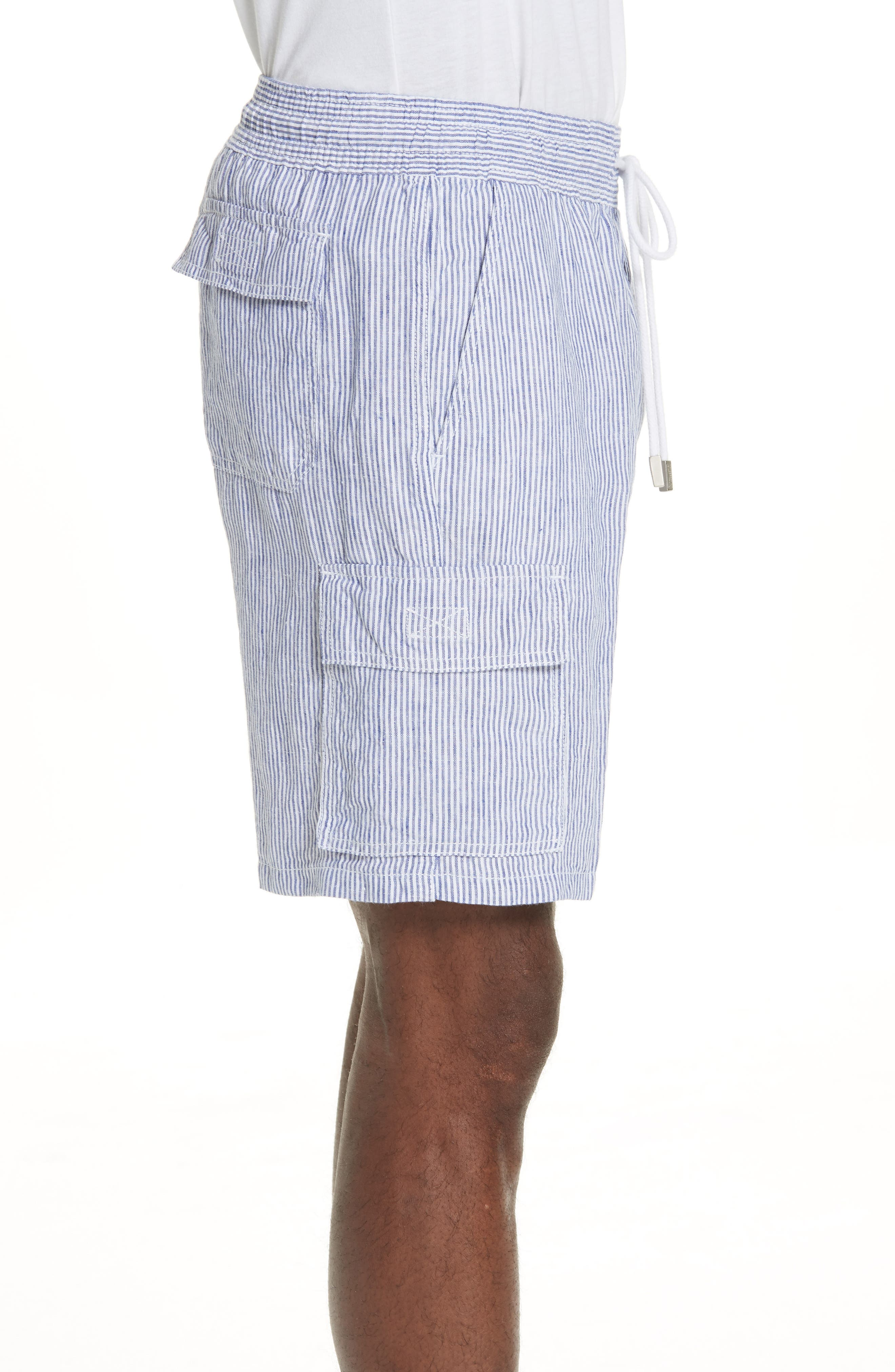 Stripe Linen Cargo Shorts,                             Alternate thumbnail 3, color,                             BLUE
