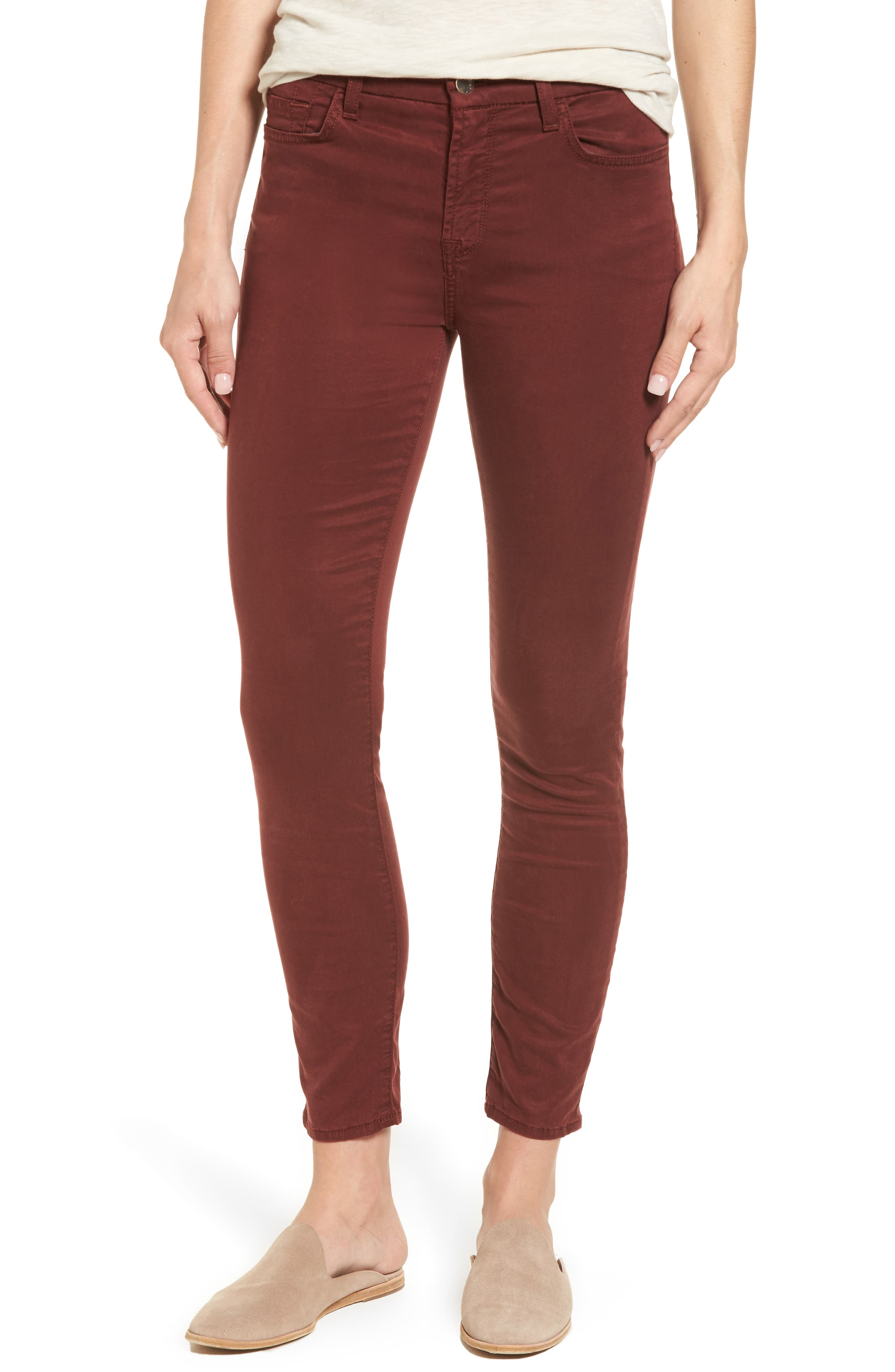 Sateen Skinny Ankle Jeans,                         Main,                         color, 201