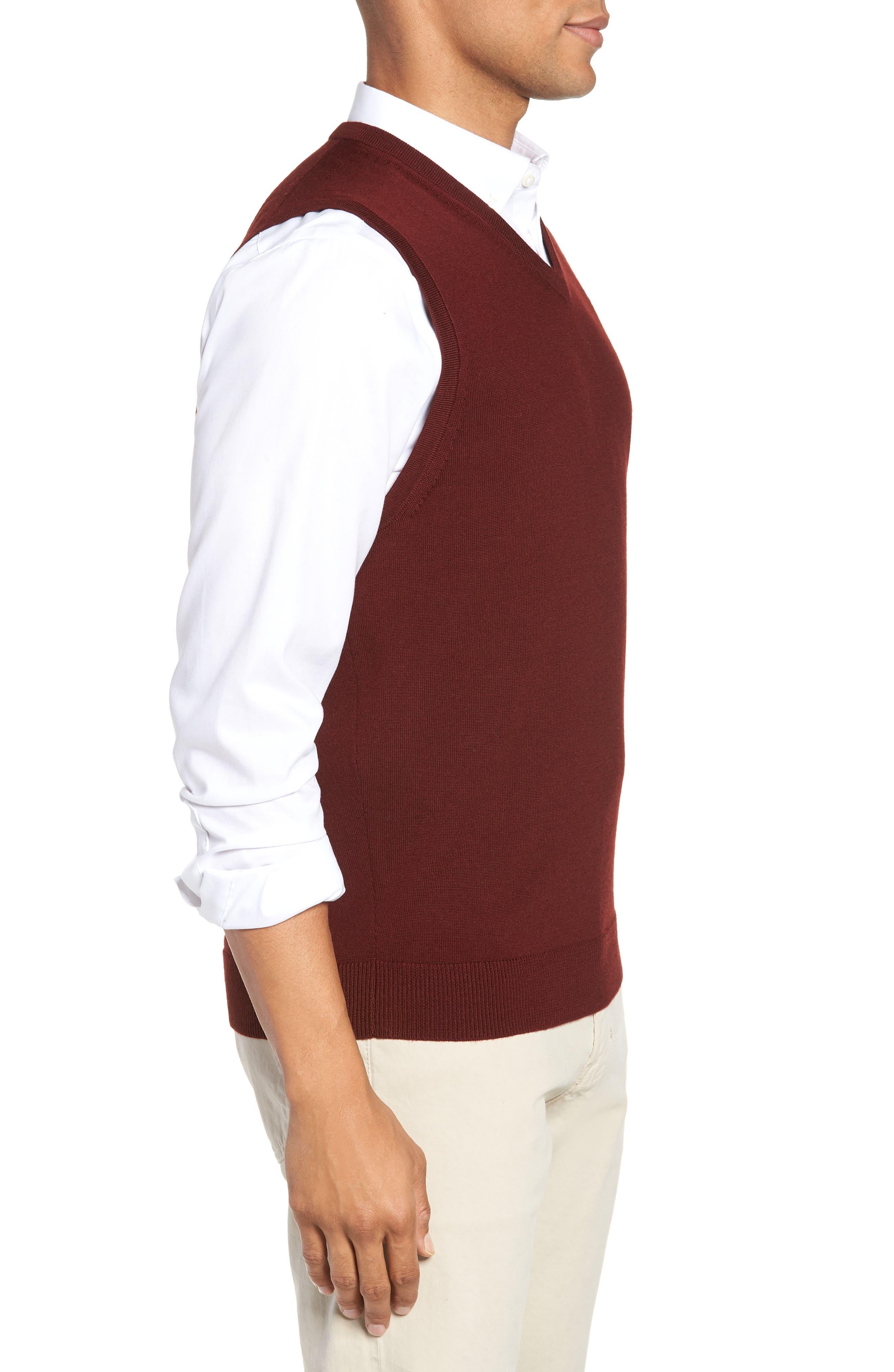 Merino Wool Sweater Vest,                             Alternate thumbnail 3, color,                             BURGUNDY ROYALE