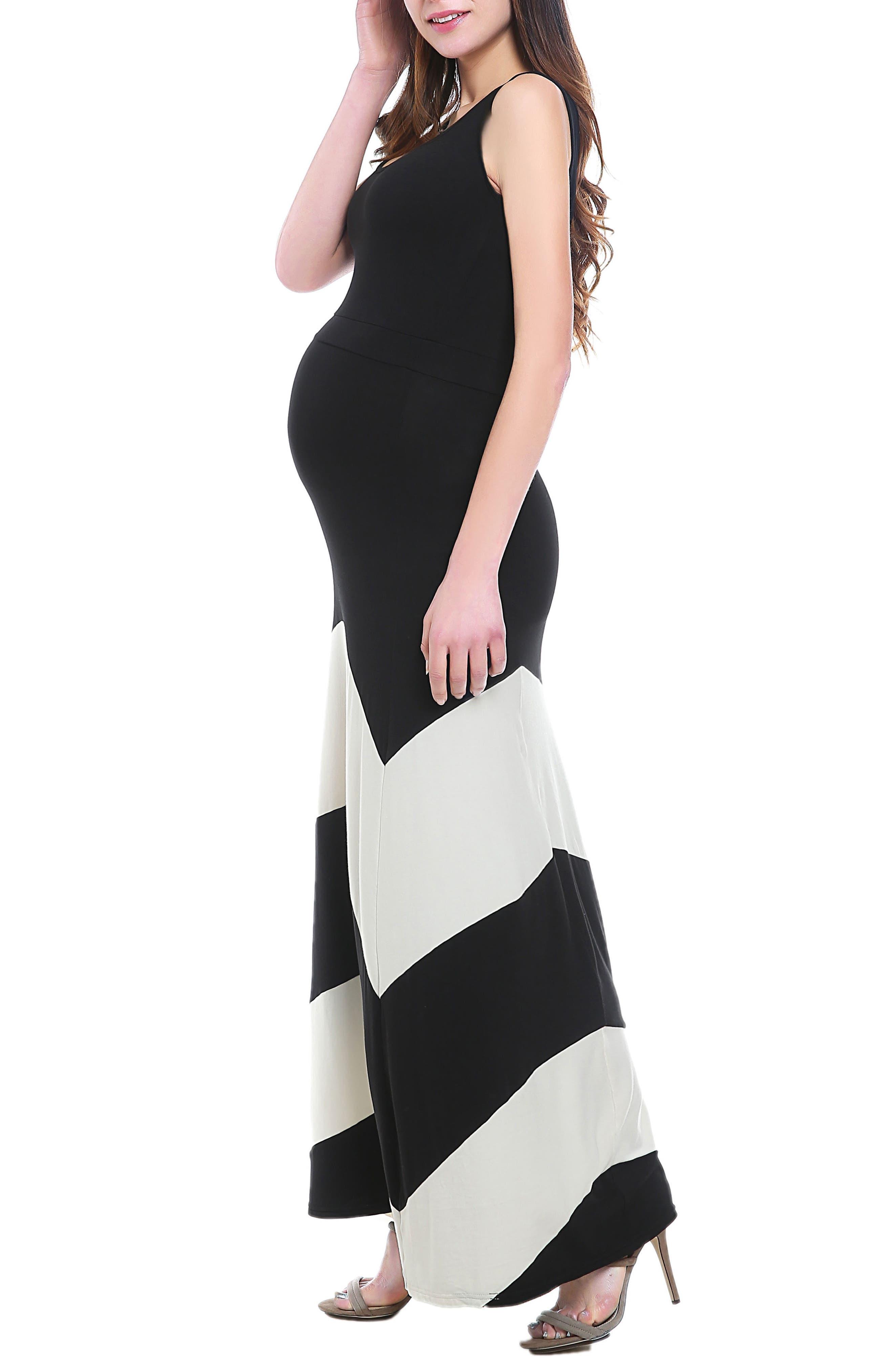 Sally Maternity Maxi Dress,                             Alternate thumbnail 3, color,                             BLACK/ WHITE