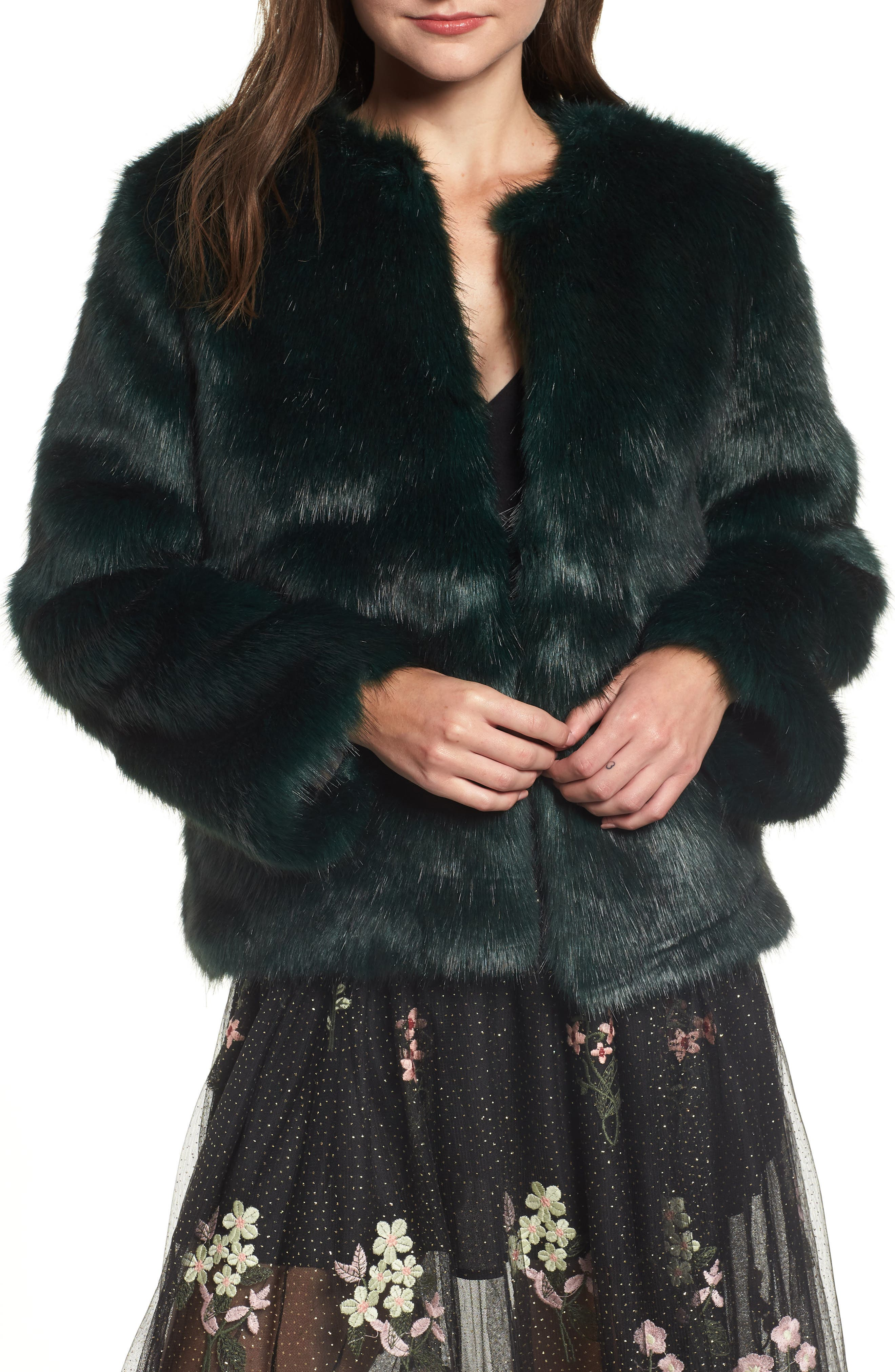 Faux Fur Jacket,                             Main thumbnail 1, color,                             GREEN