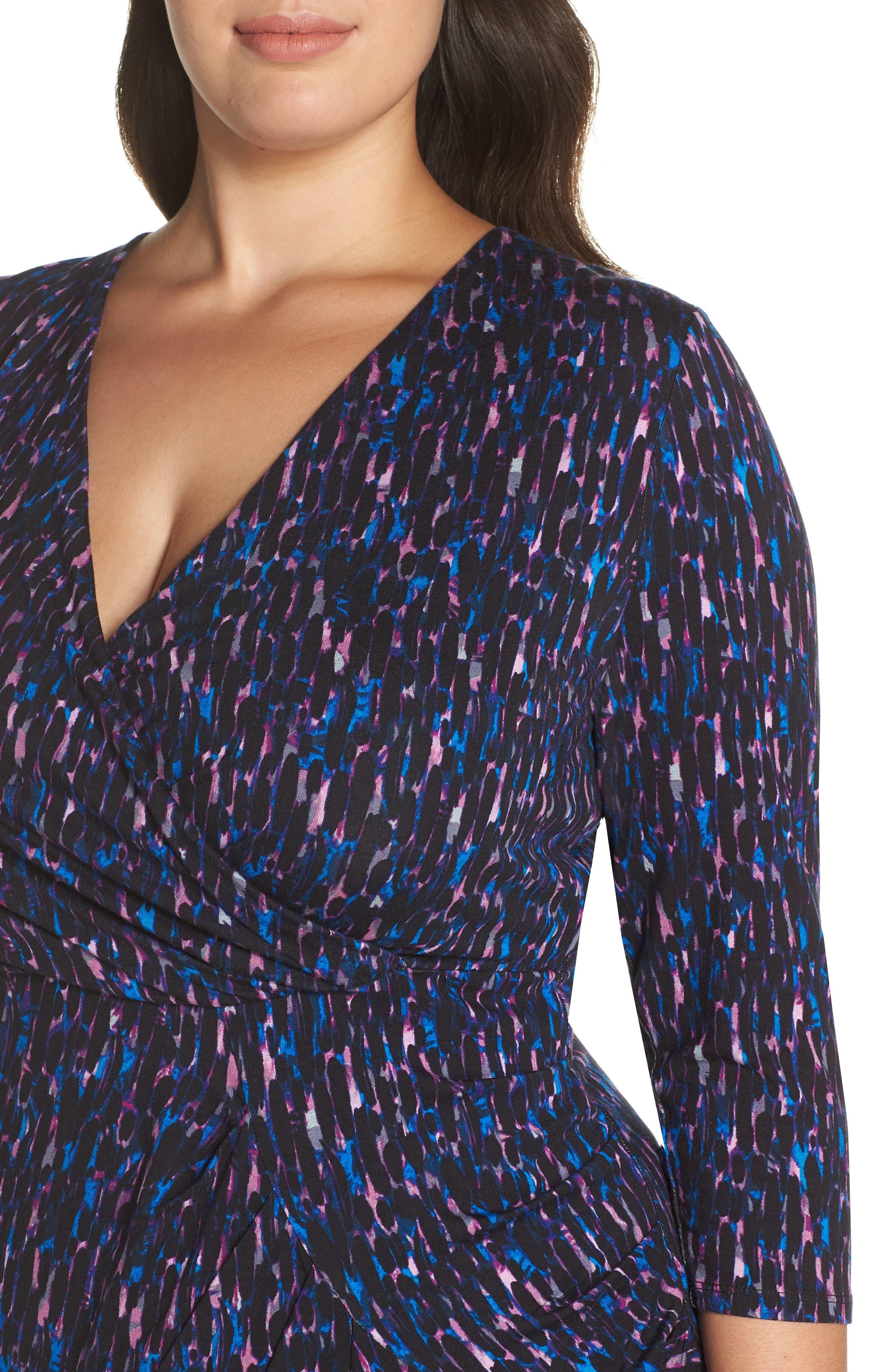 Printed Faux Wrap Dress,                             Alternate thumbnail 4, color,                             515