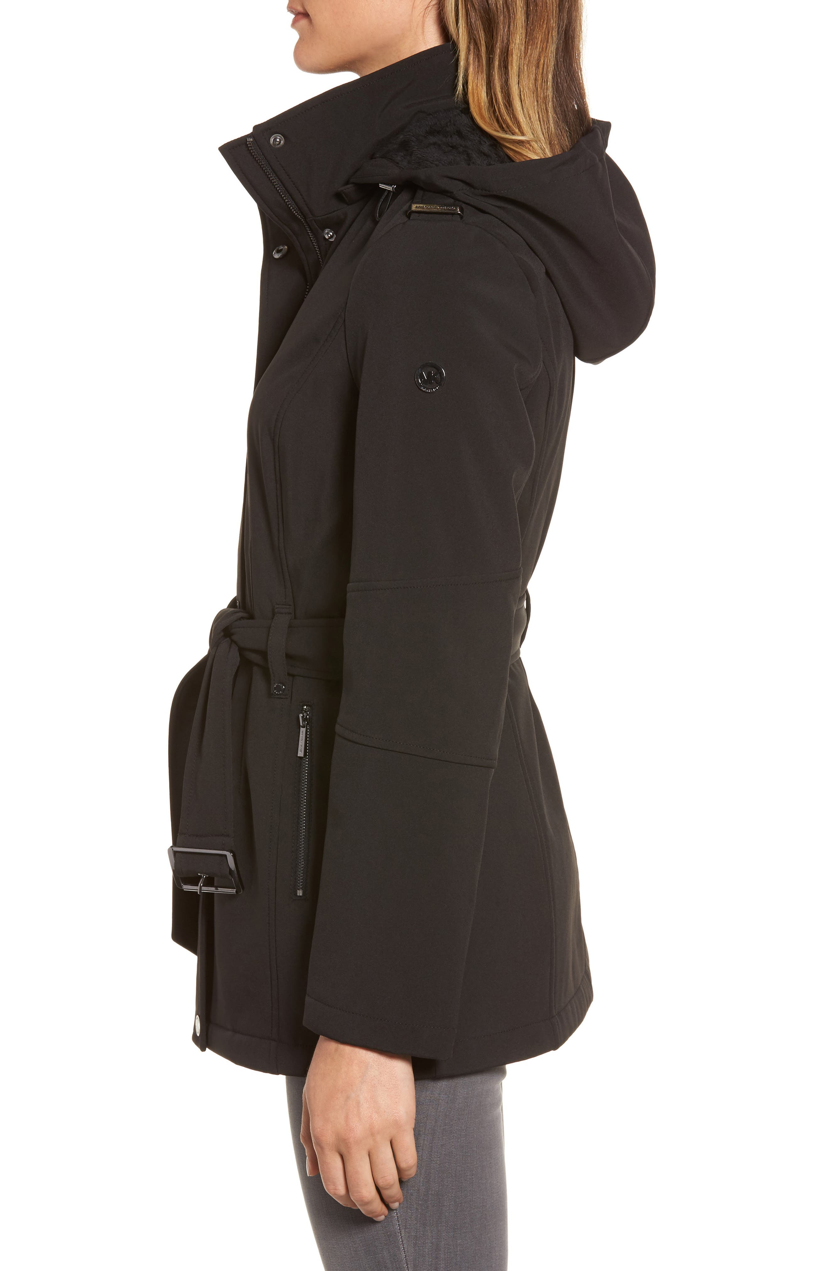 Waterproof Belted Jacket with Detachable Hood,                             Alternate thumbnail 3, color,                             001