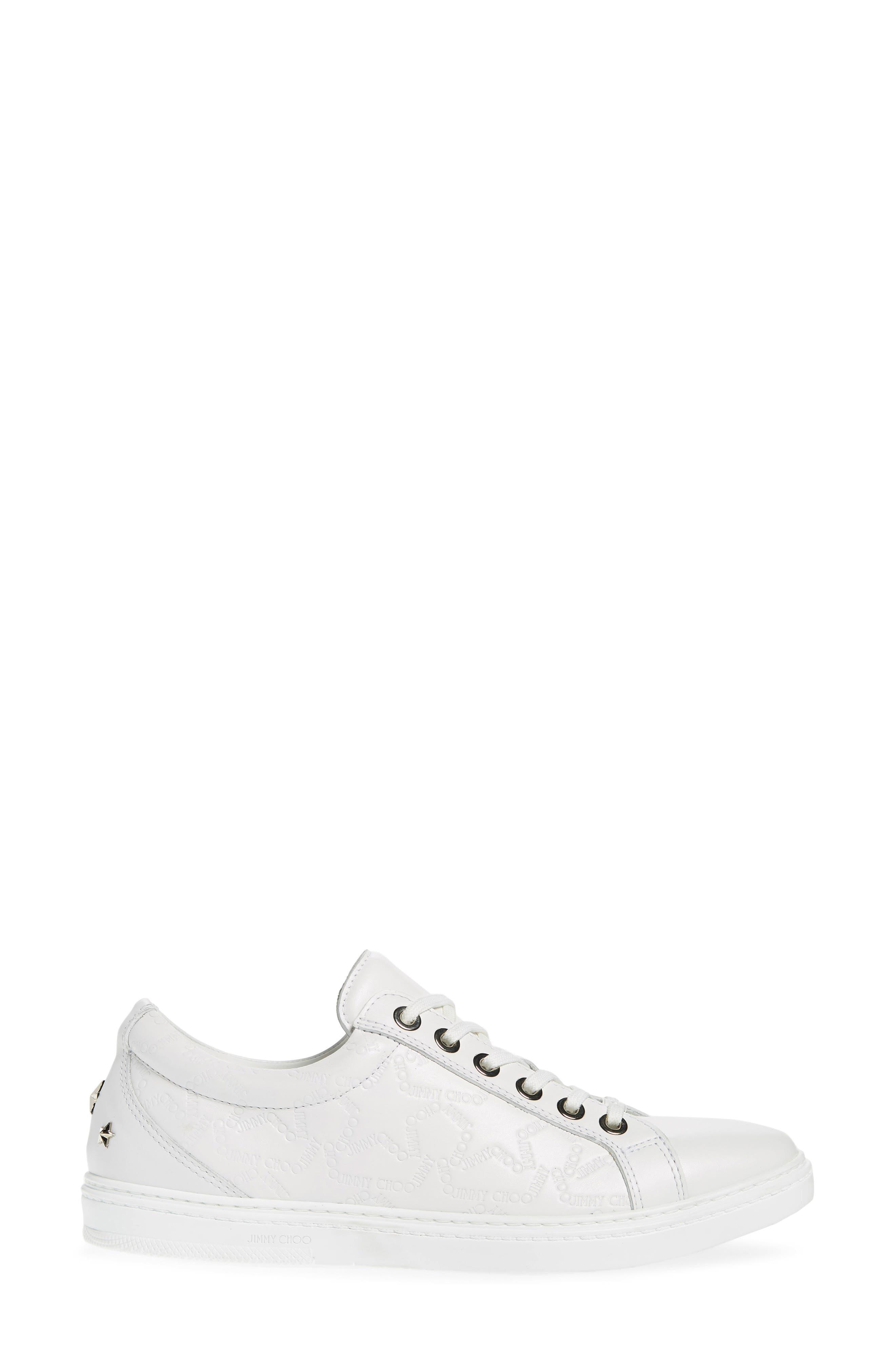 JIMMY CHOO,                             Cash Star Sneaker,                             Alternate thumbnail 3, color,                             WHITE