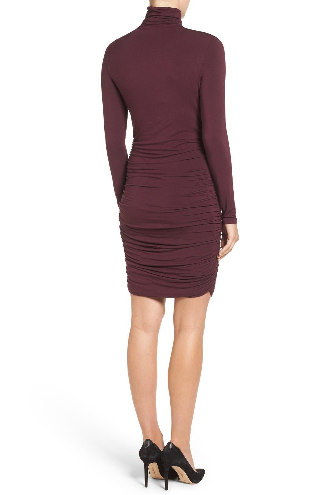 Side Ruched Turtleneck Dress,                             Alternate thumbnail 16, color,