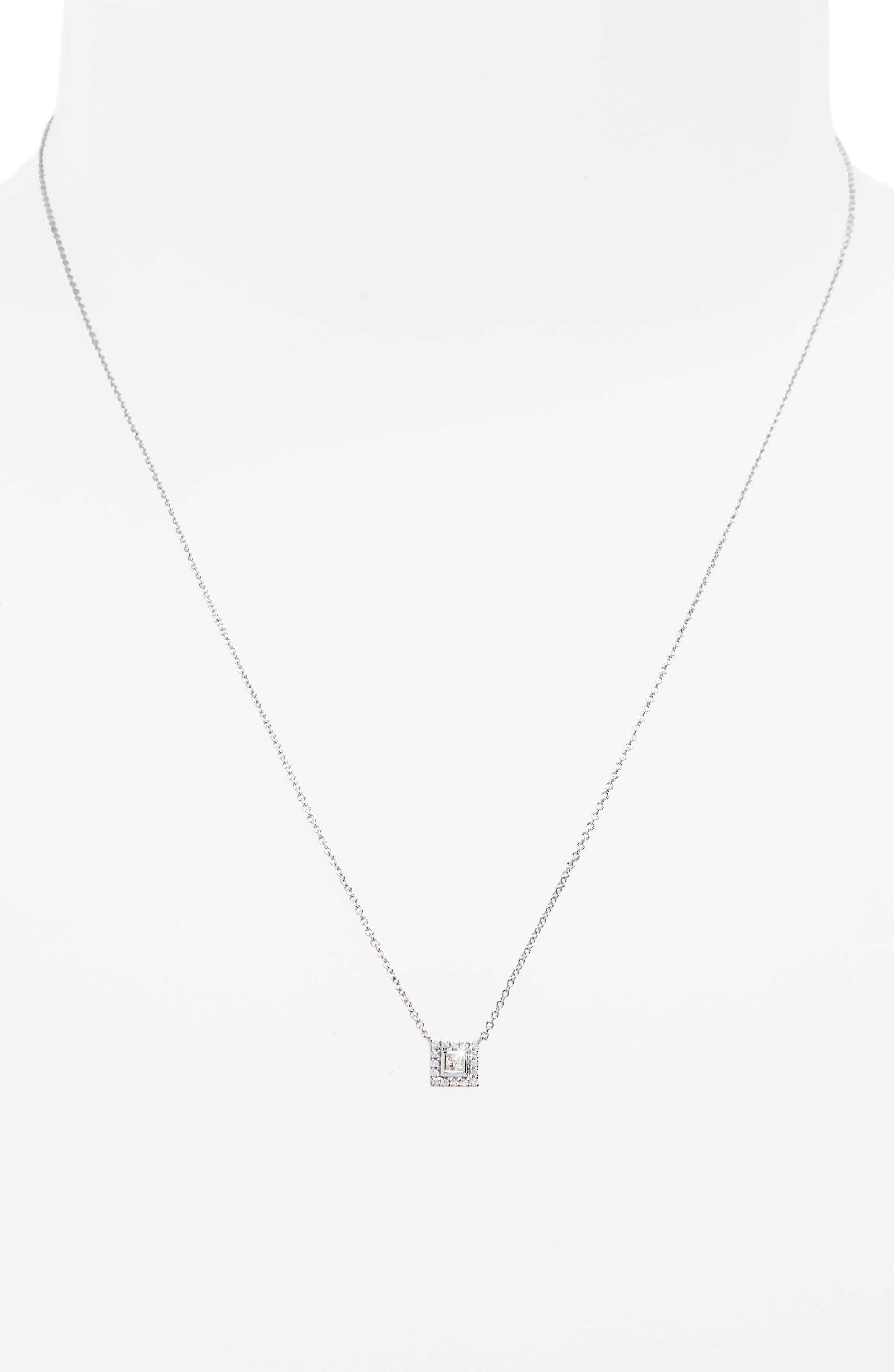 Amara Diamond Square Pendant Necklace,                             Alternate thumbnail 2, color,                             WHITE GOLD