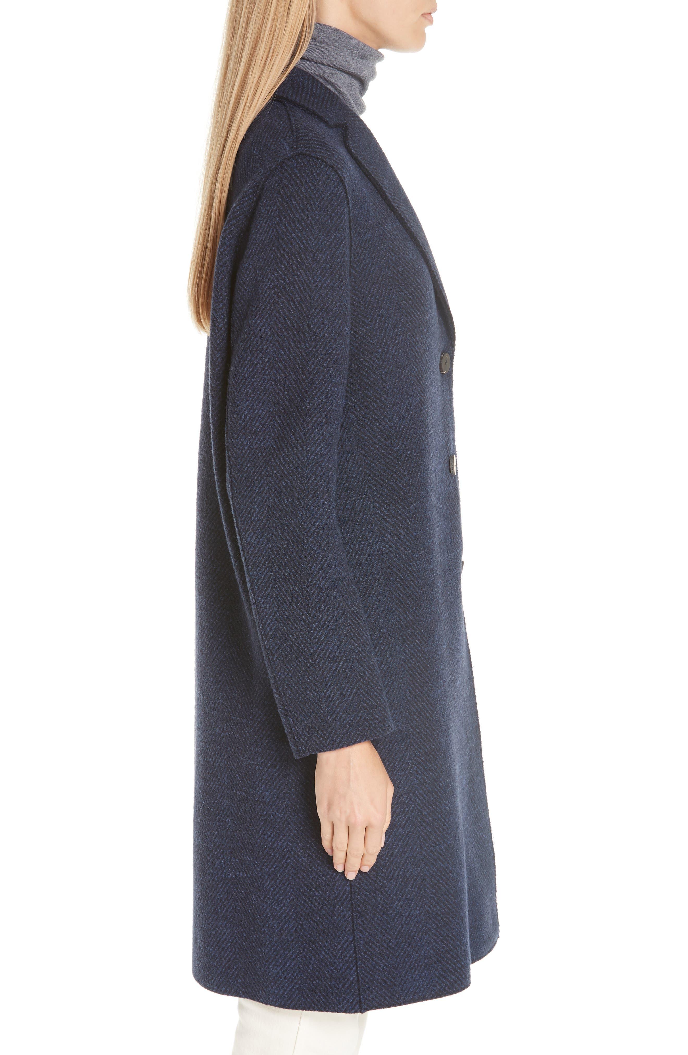 Herringbone Wool Coat,                             Alternate thumbnail 3, color,                             NAVY BLUE