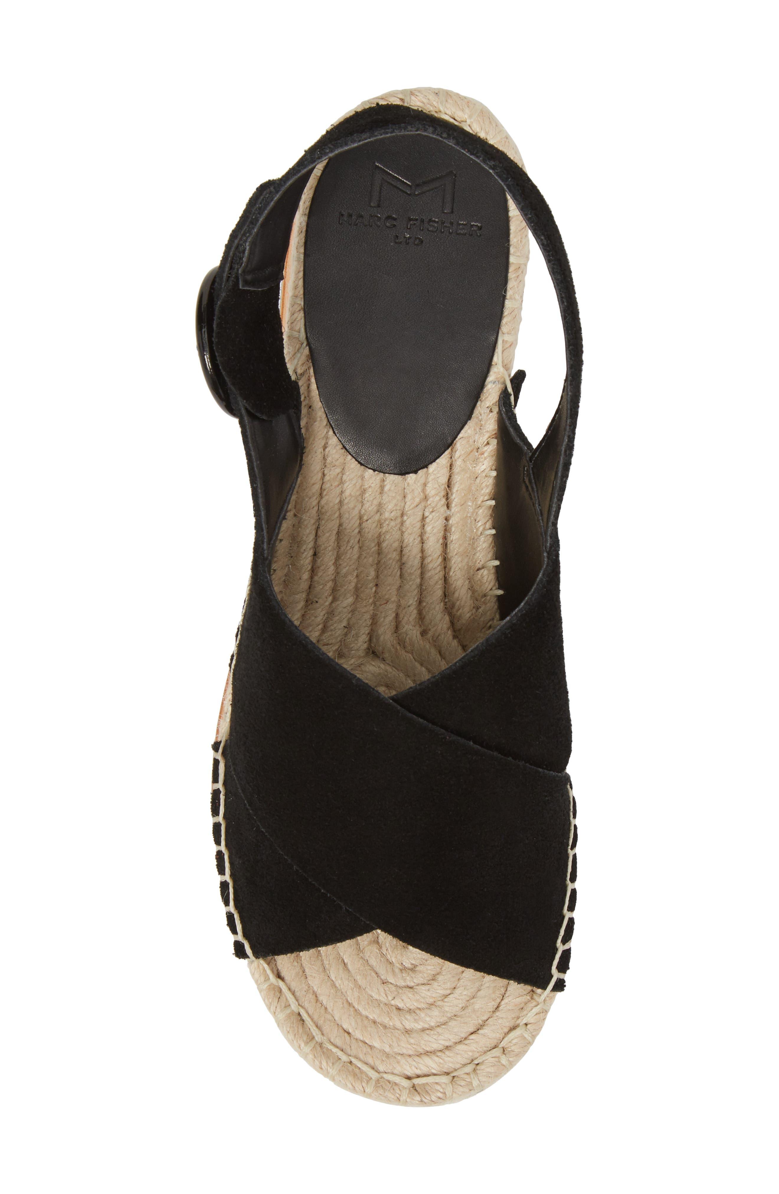 Glenna Platform Slingback Sandal,                             Alternate thumbnail 5, color,                             BLACK SUEDE