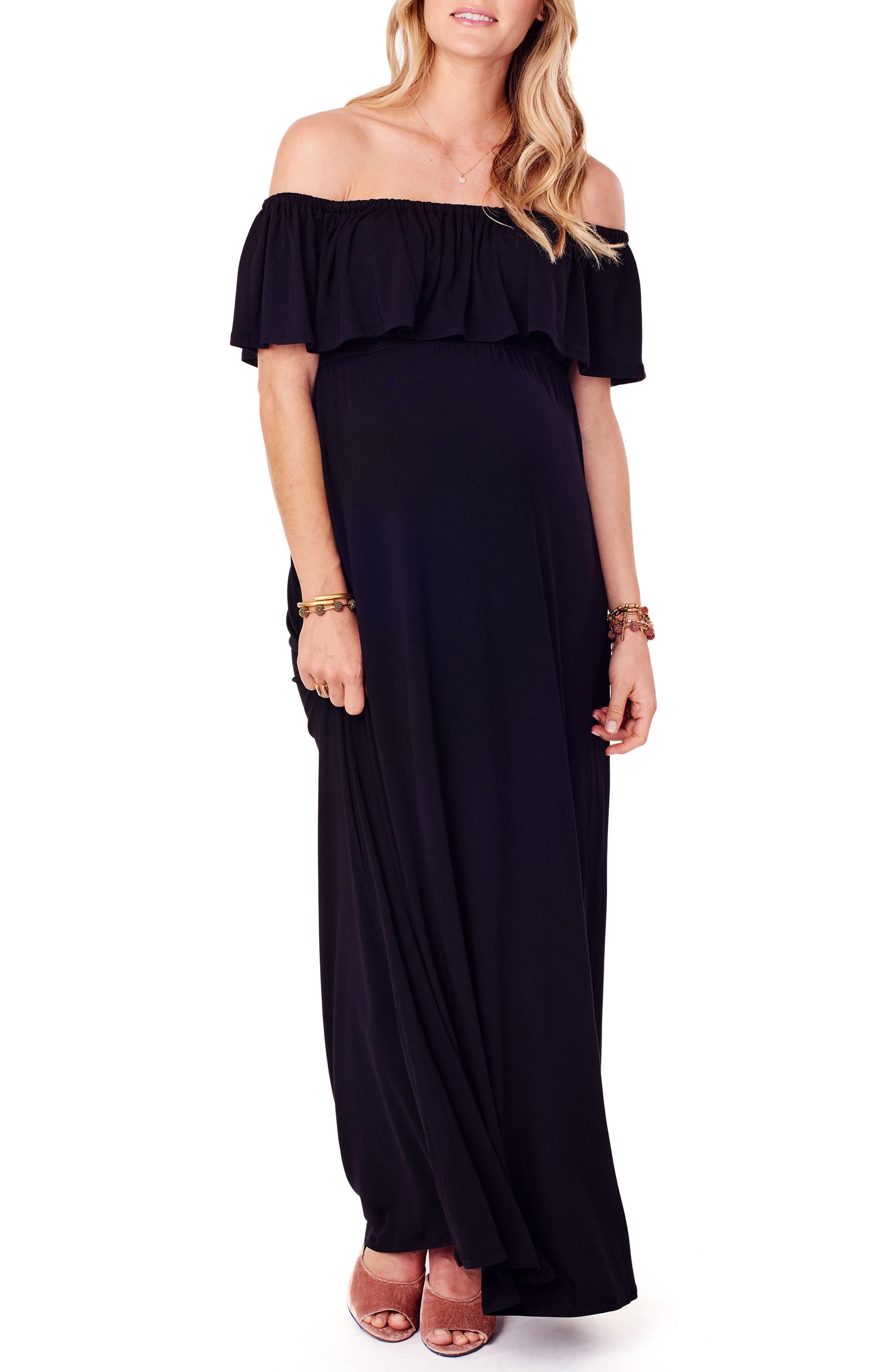 Off the Shoulder Maternity Maxi Dress,                         Main,                         color, JET BLACK