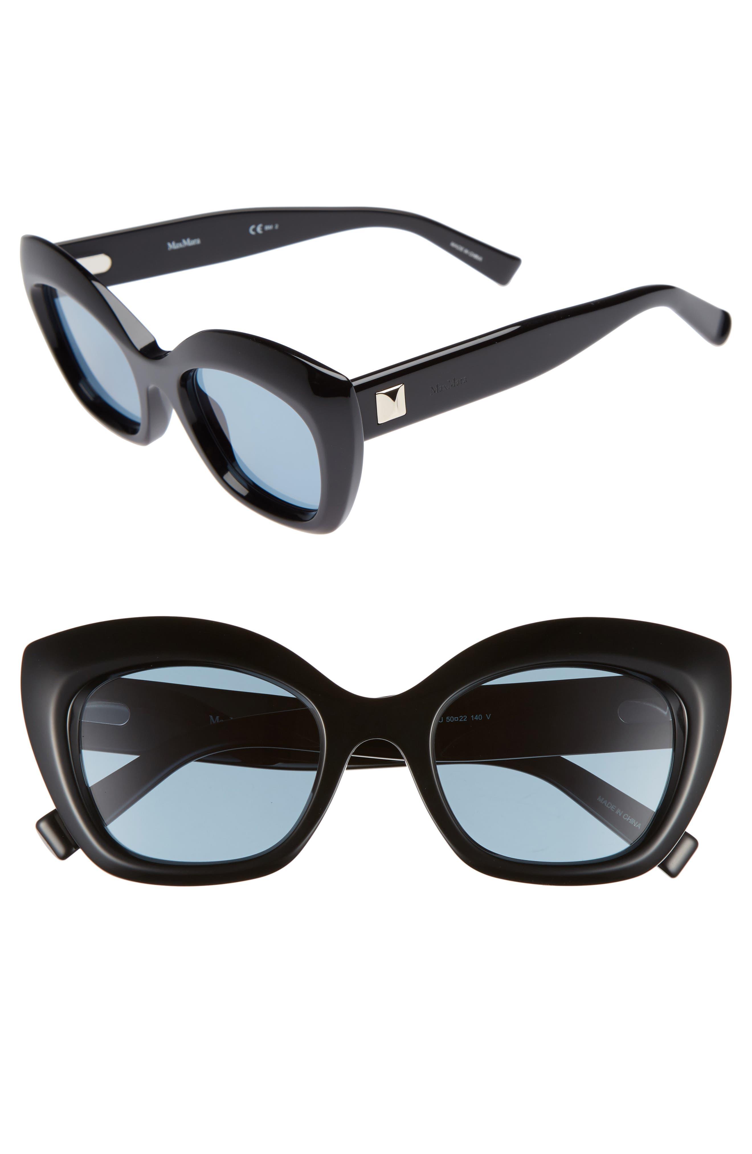 Prism VII 50mm Gradient Cat Eye Sunglasses,                             Main thumbnail 1, color,                             BLACK