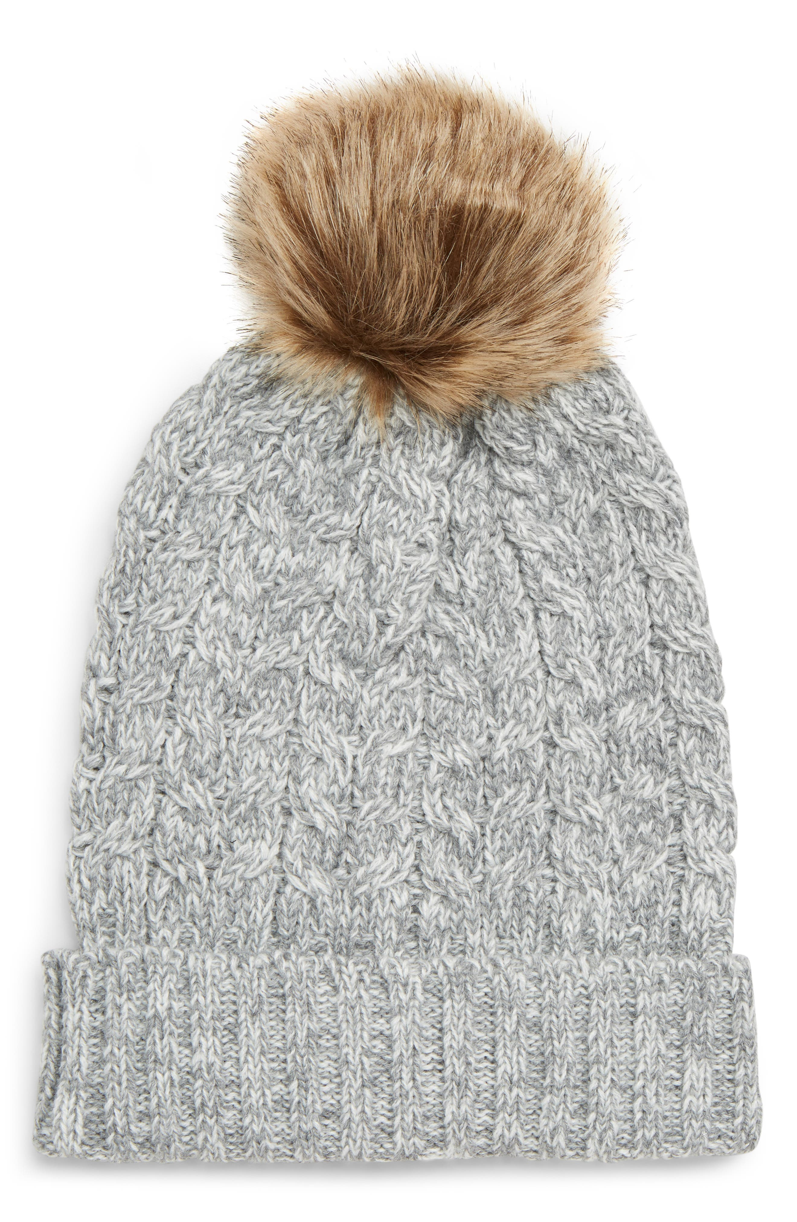 Cable Knit Beanie with Faux Fur Pom,                             Main thumbnail 1, color,                             GREY