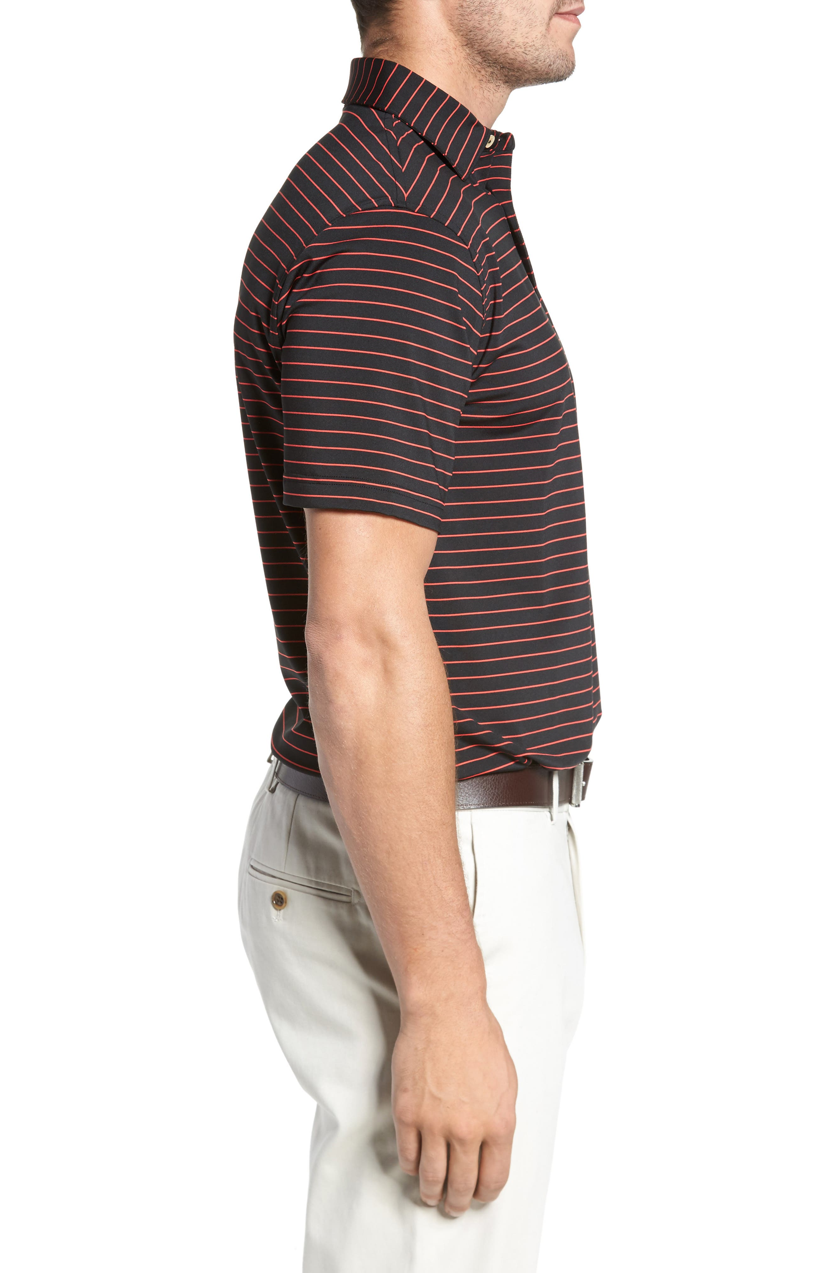 Halifax Pinstripe Stretch Jersey Polo,                             Alternate thumbnail 3, color,                             001