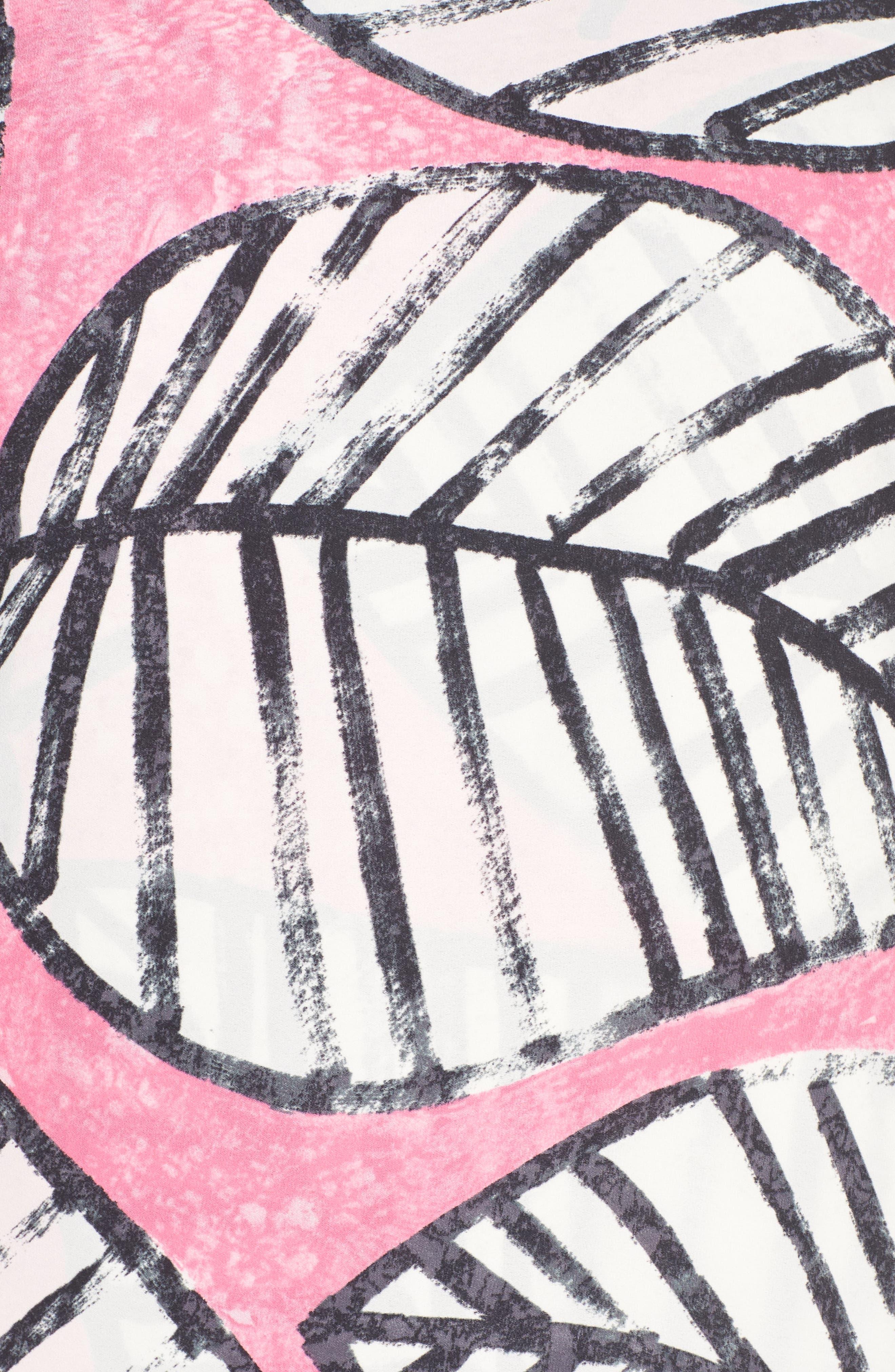 Etched Leaves Faux Wrap Shift Dress,                             Alternate thumbnail 5, color,                             CACTUS FLOWER