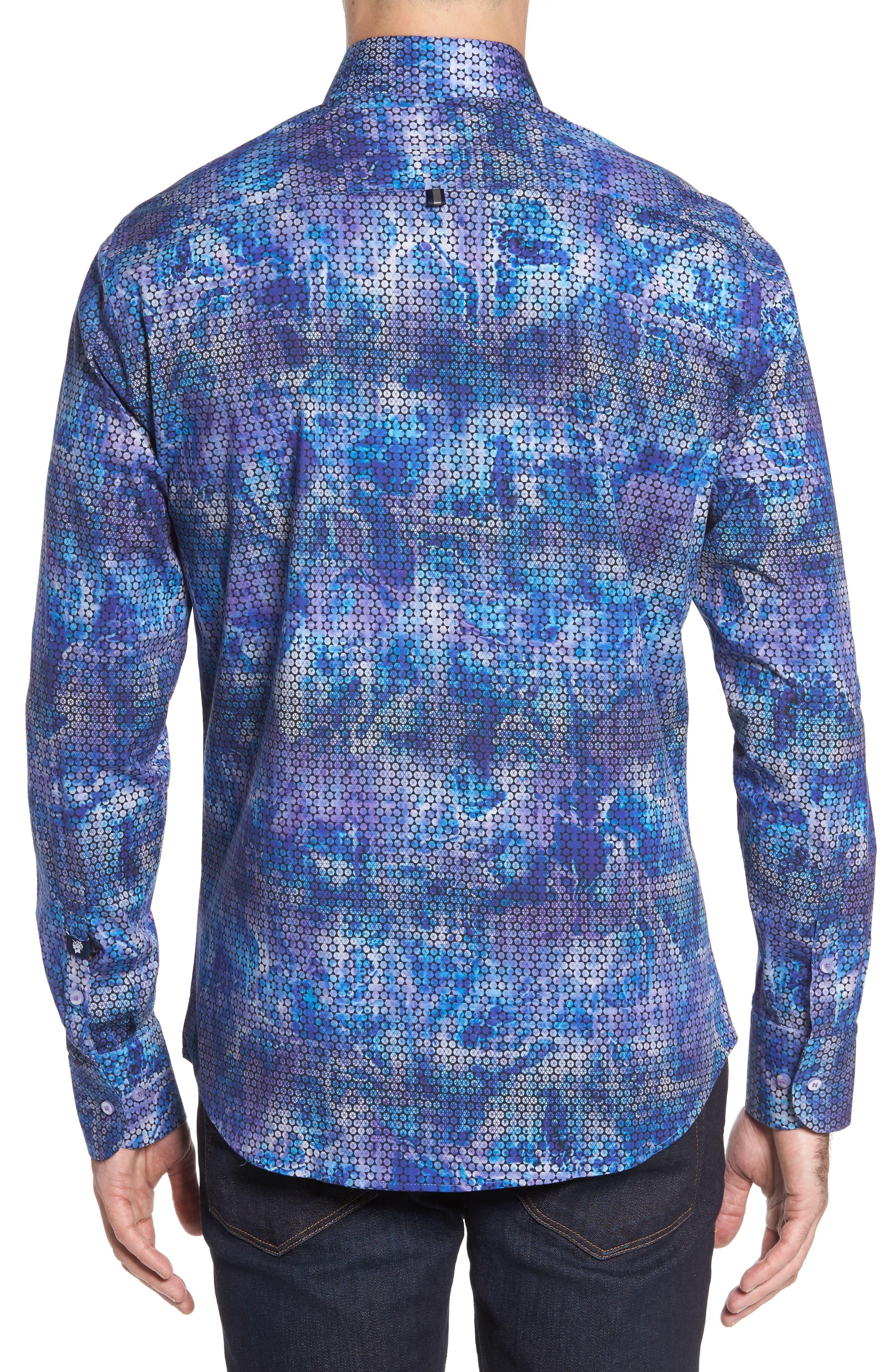 Slim Fit Geometric FX Print Sport Shirt,                             Alternate thumbnail 2, color,                             PURPLE