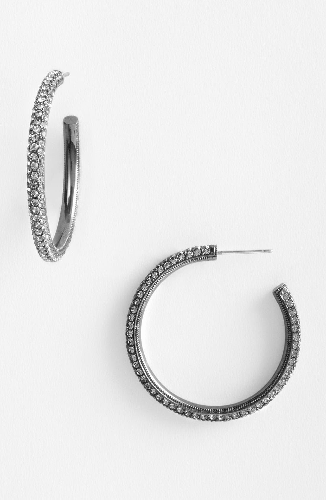 'Small Pavé Bombe' Hoop Earrings,                         Main,                         color, 002