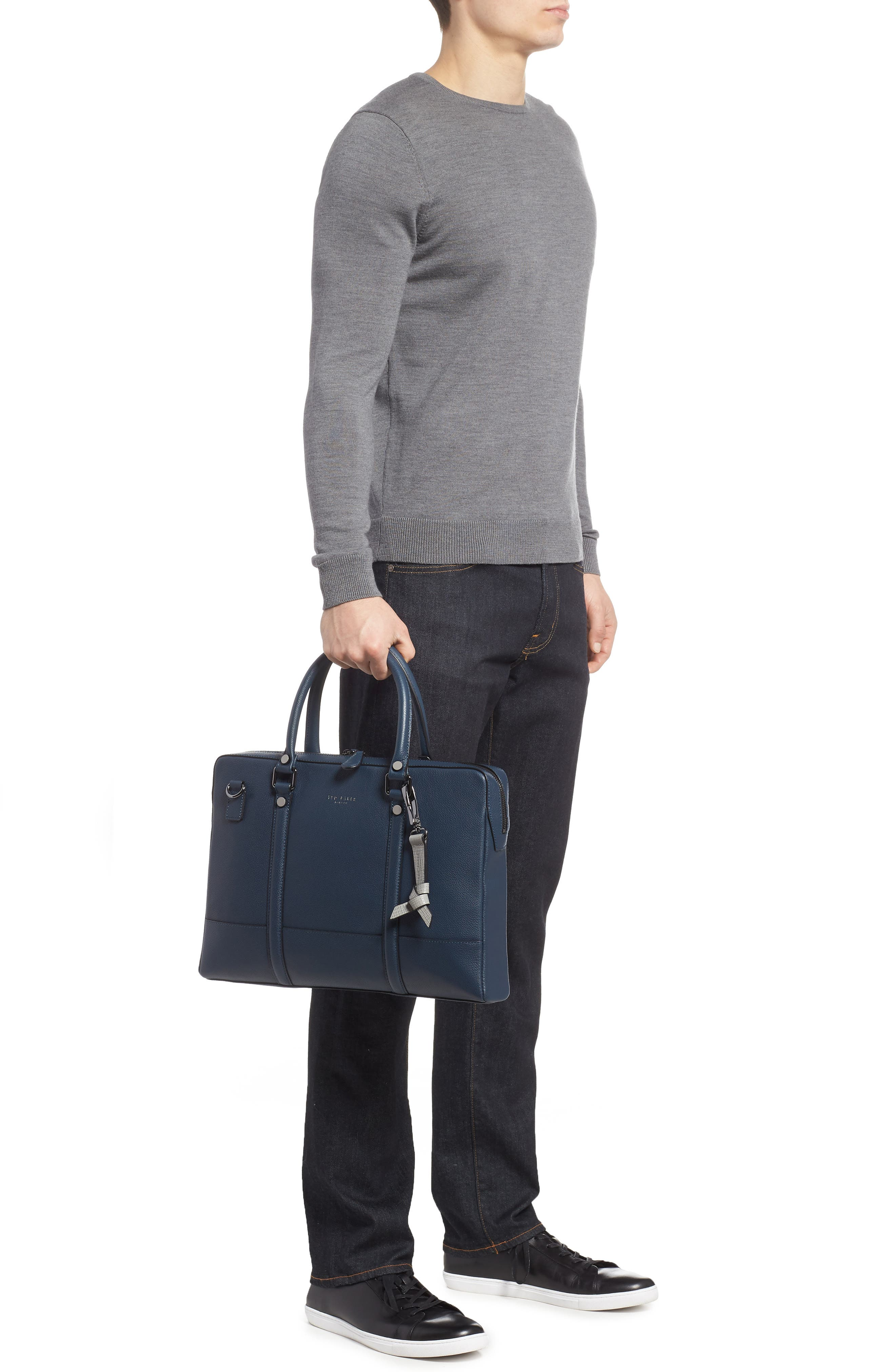 AWOL Leather Document Bag,                             Alternate thumbnail 2, color,                             NAVY
