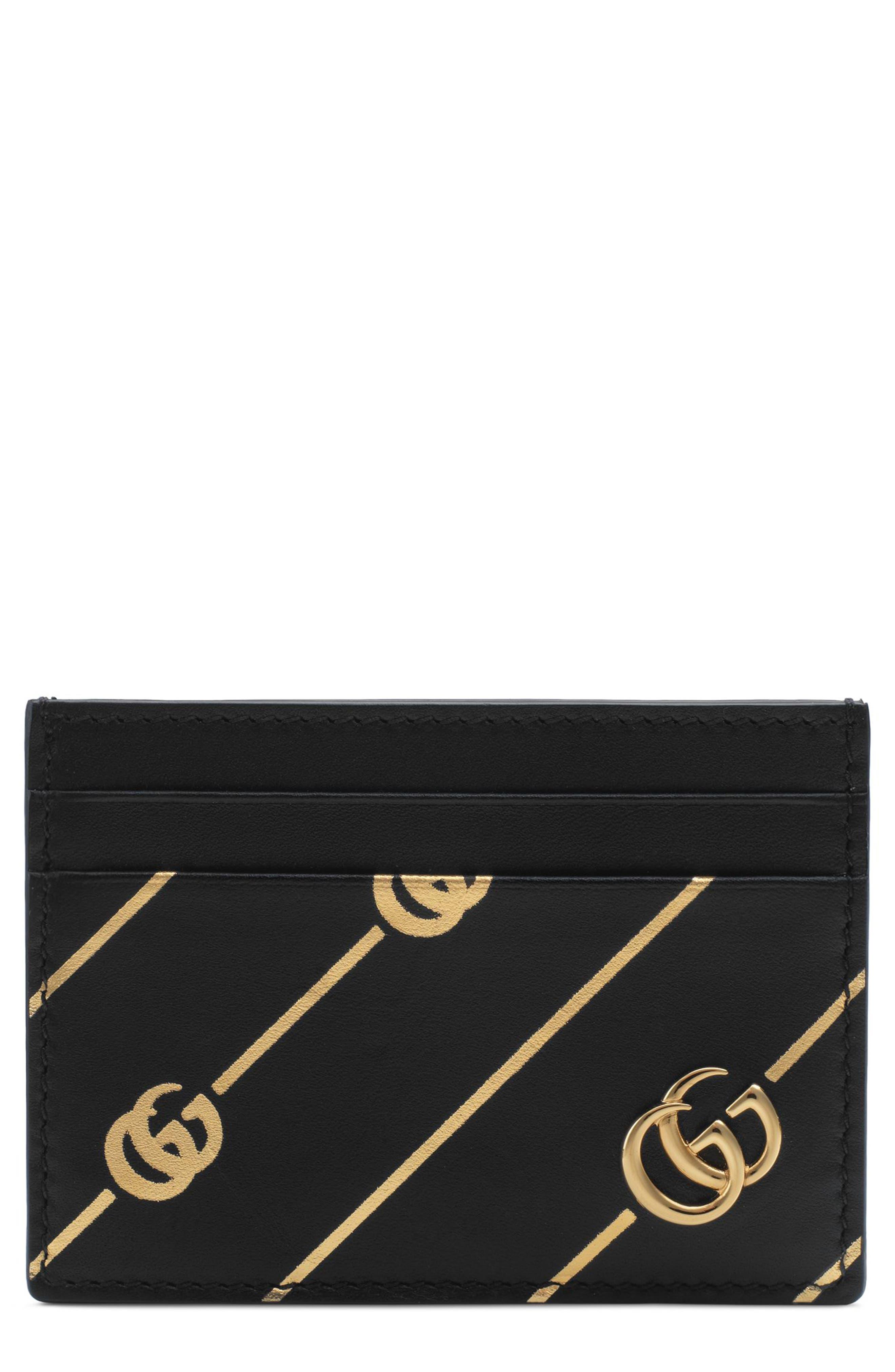 Diagonal GG Leather Card Case,                         Main,                         color, NERO/ ORO