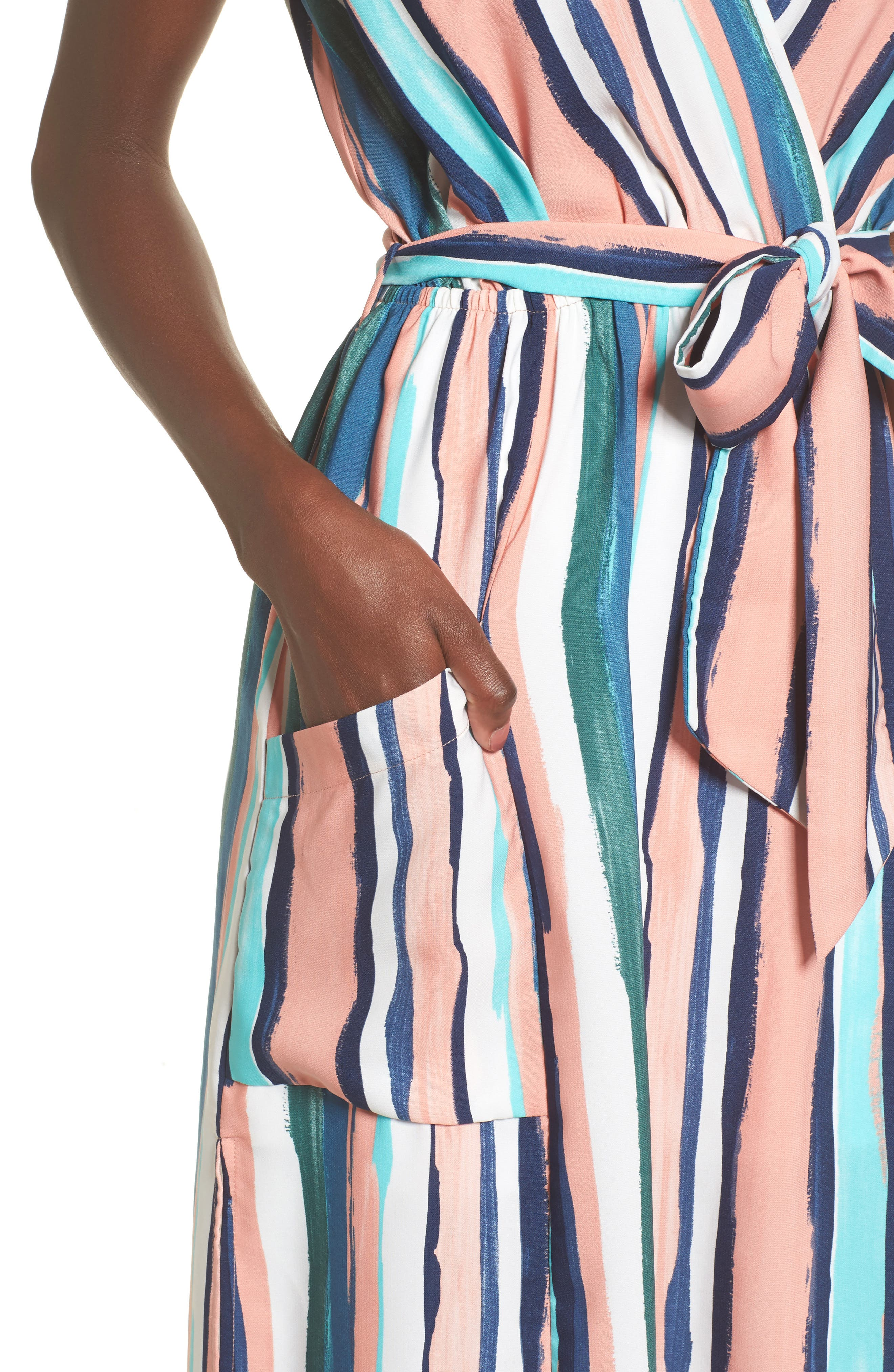 Santorini Faux Wrap Dress,                             Alternate thumbnail 4, color,                             MULTI PEACH