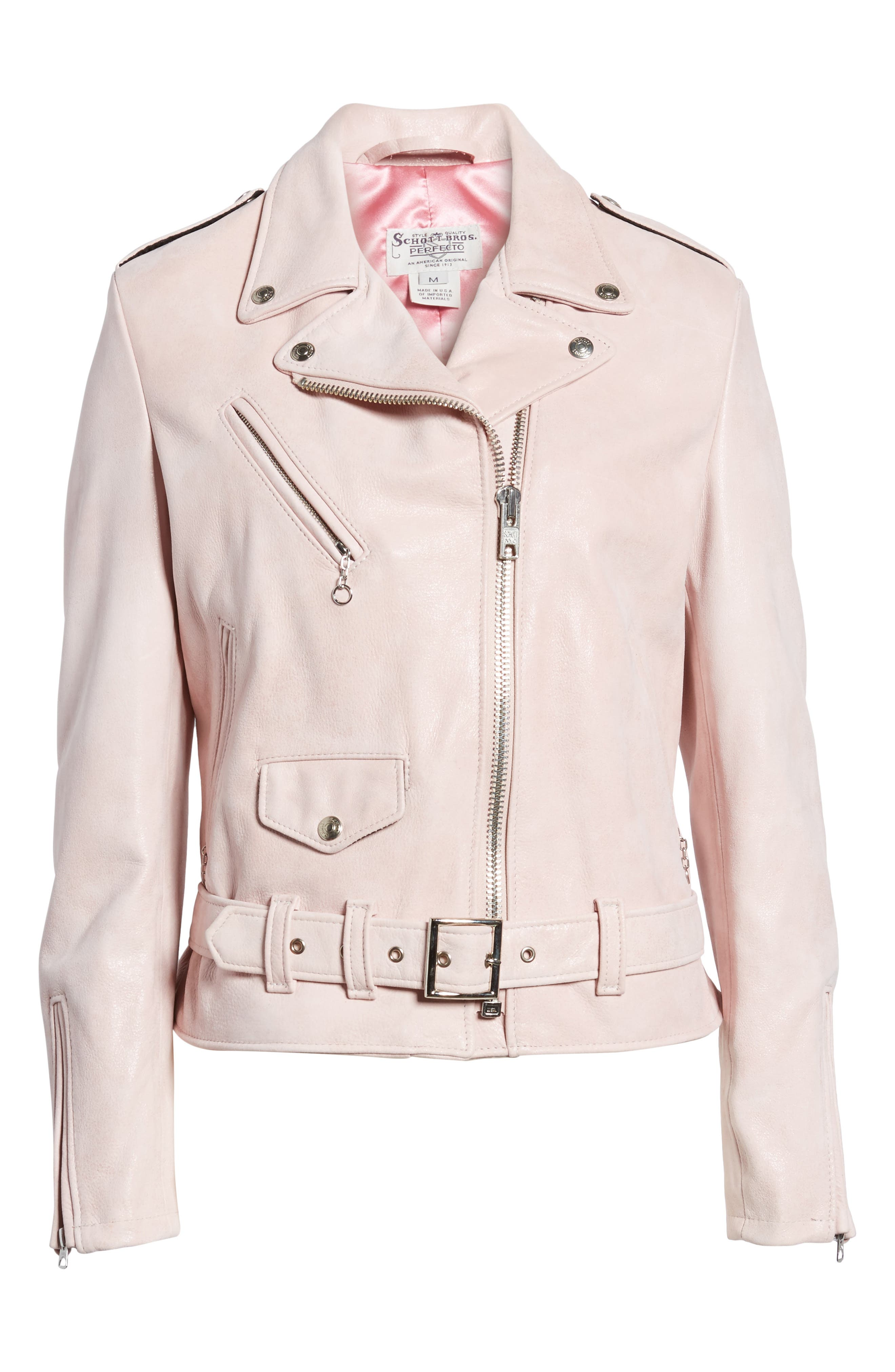 Perfecto Distressed Leather Boyfriend Jacket,                             Alternate thumbnail 15, color,