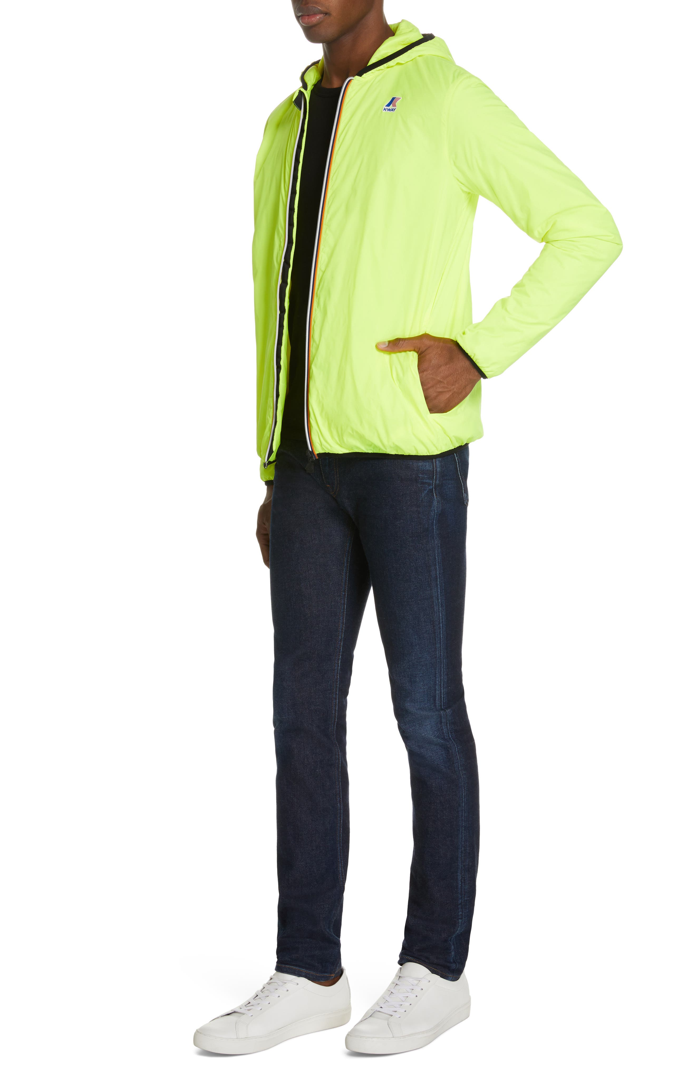 Le Vrai 3.0 Claude Light Warm Water Resistant Hooded Windbreaker,                             Alternate thumbnail 4, color,                             YELLOW FLUO