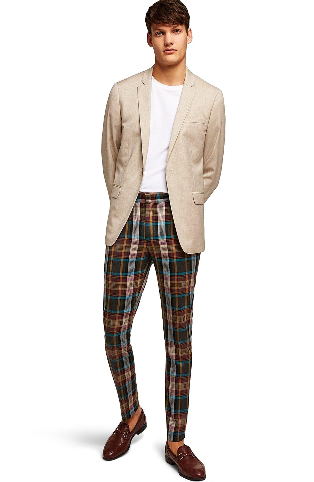 Skinny Fit Check Suit Jacket,                             Alternate thumbnail 8, color,                             250