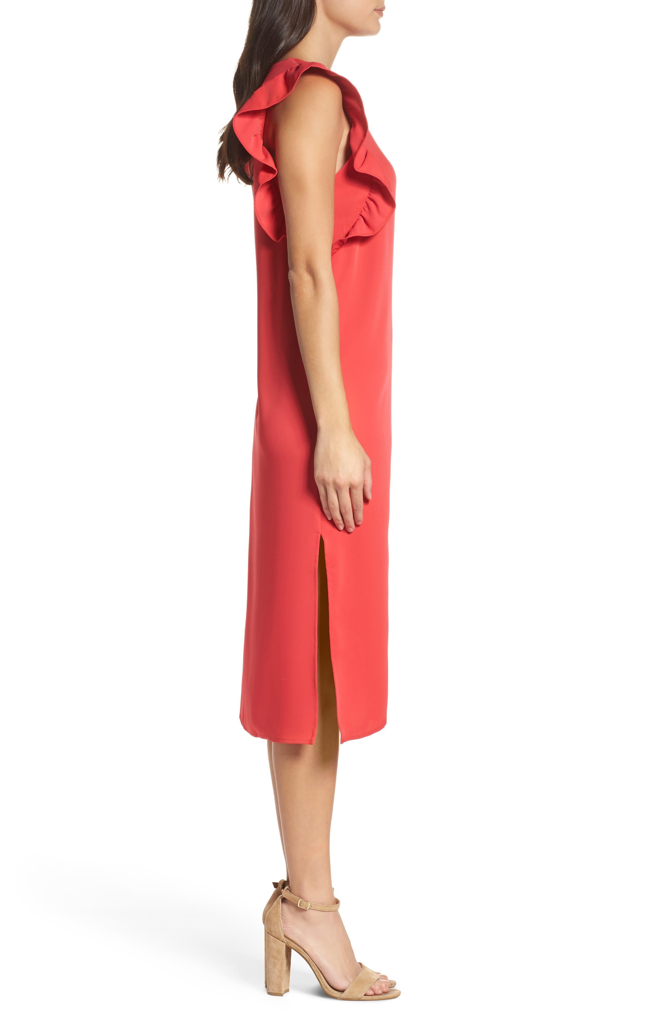 Ruffle Midi Dress,                             Alternate thumbnail 3, color,                             610