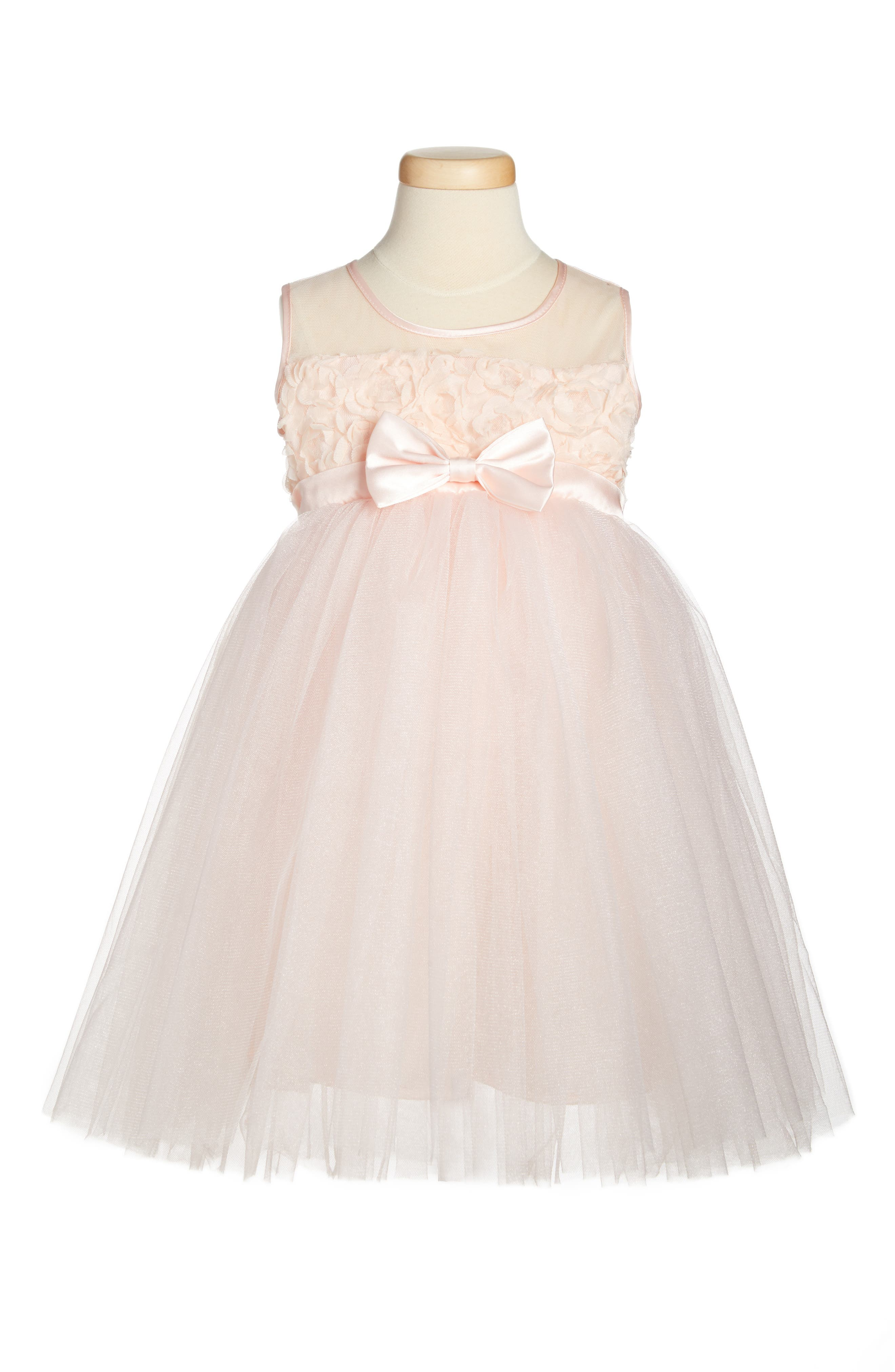 Floral Tulle Dress,                             Main thumbnail 1, color,                             PINK