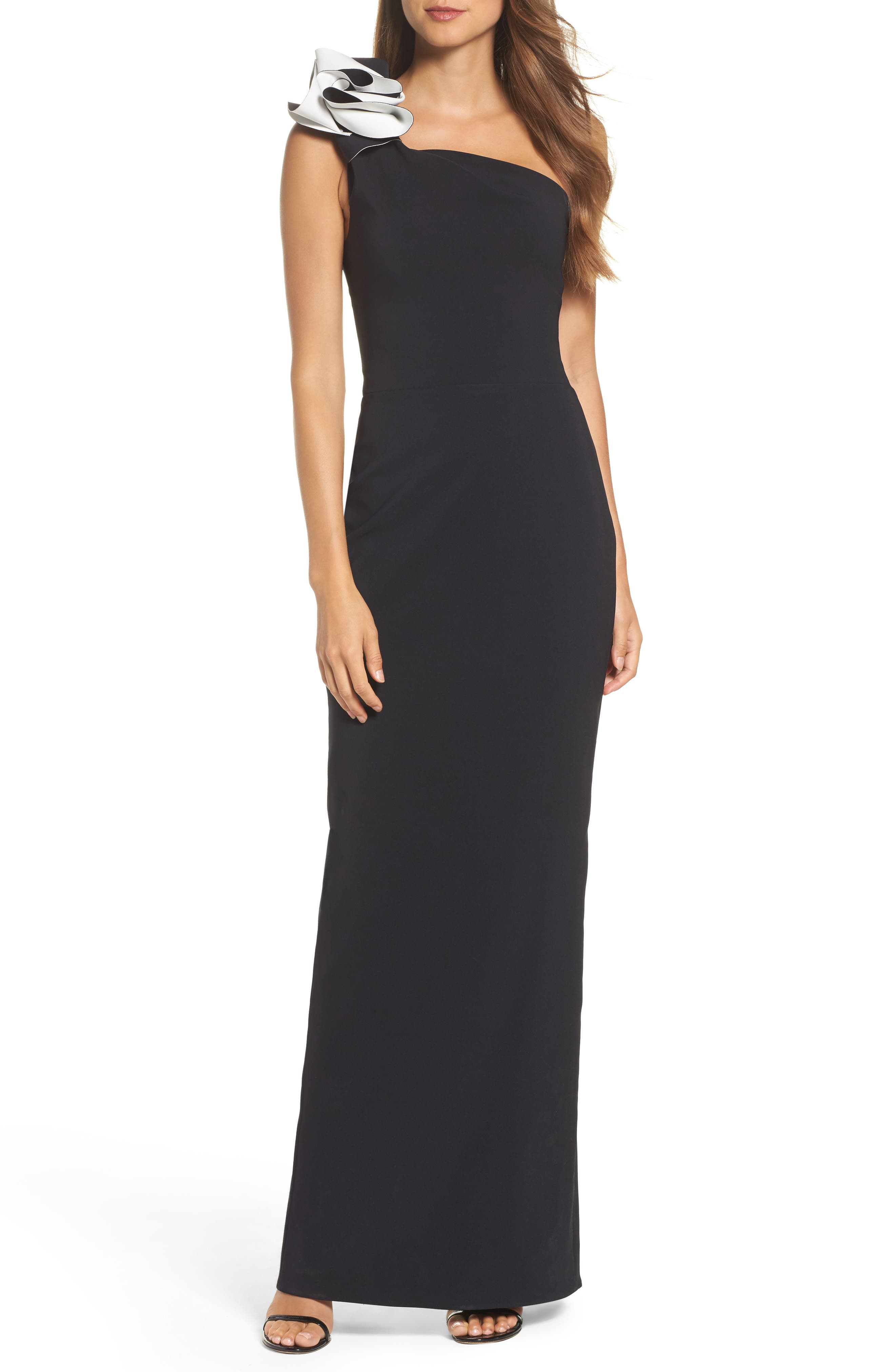 Sydney Ruffle One-Shoulder Gown,                         Main,                         color, 013