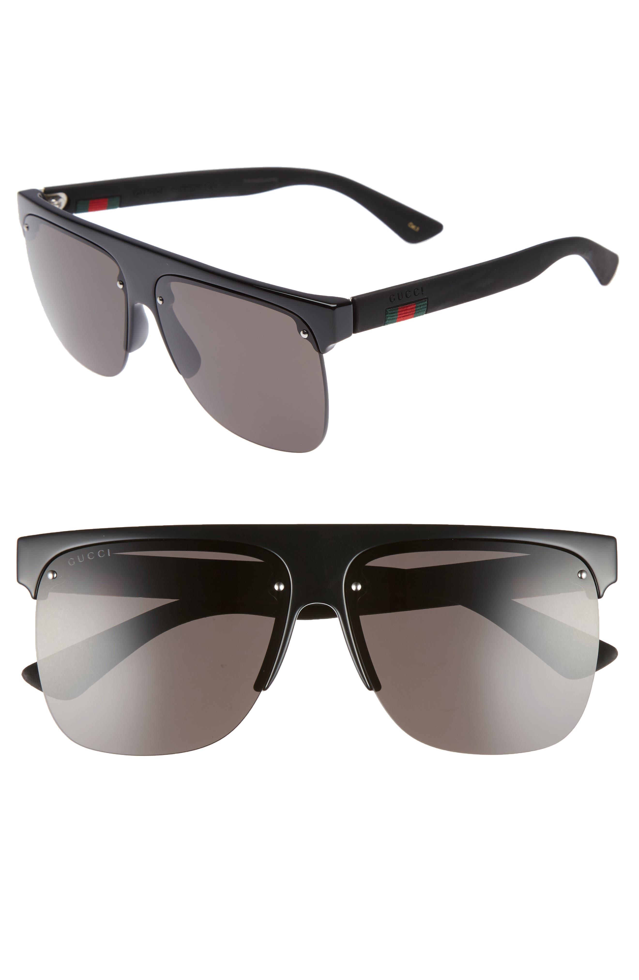 60mm Semi Rimless Polarized Sunglasses,                             Main thumbnail 2, color,