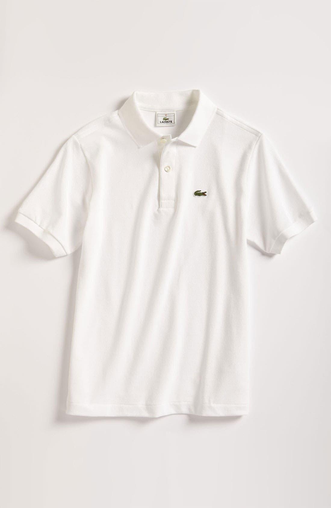 LACOSTE,                             Short Sleeve Piqué Polo,                             Main thumbnail 1, color,                             WHITE