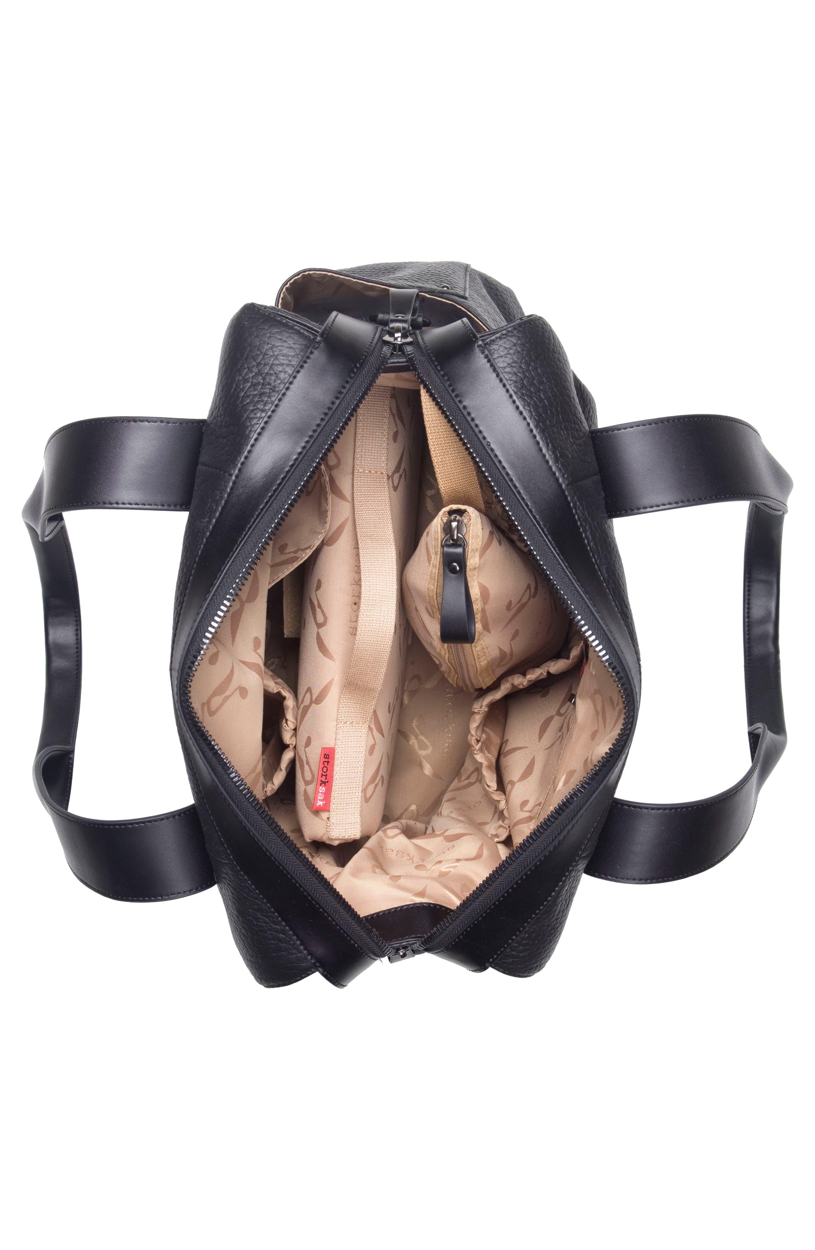 Kym Calfskin Leather Diaper Tote Bag,                             Alternate thumbnail 5, color,                             BLACK