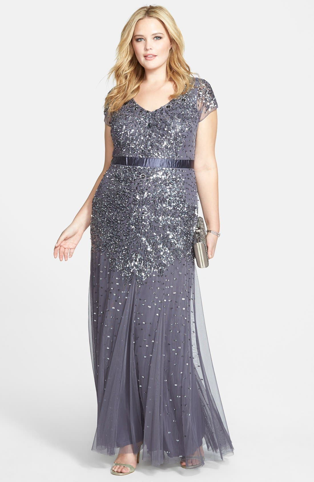 Beaded V-Neck Gown,                             Alternate thumbnail 11, color,                             GUNMETAL