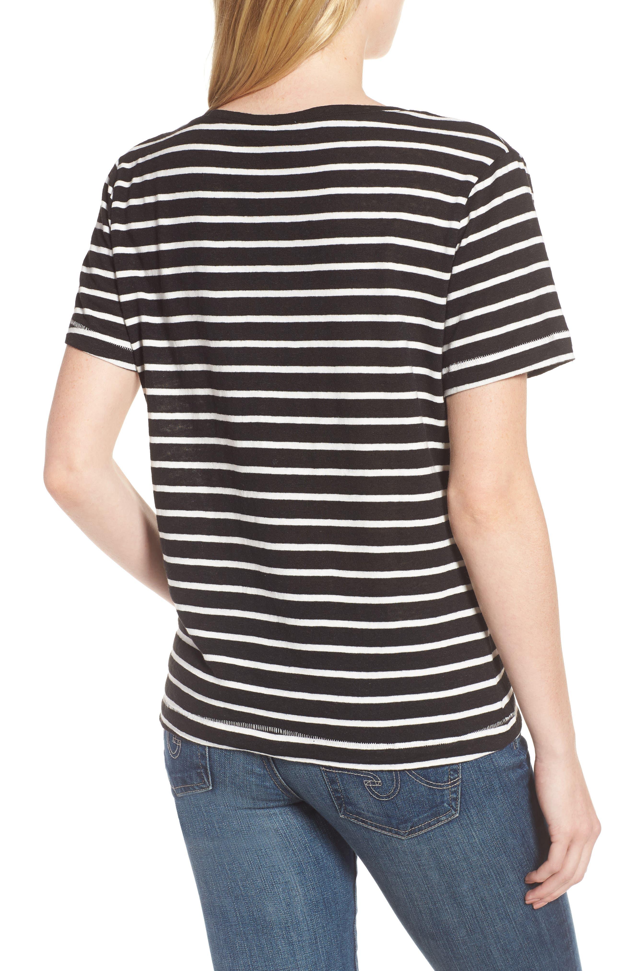 Stripe V-Neck Tee,                             Alternate thumbnail 2, color,                             001