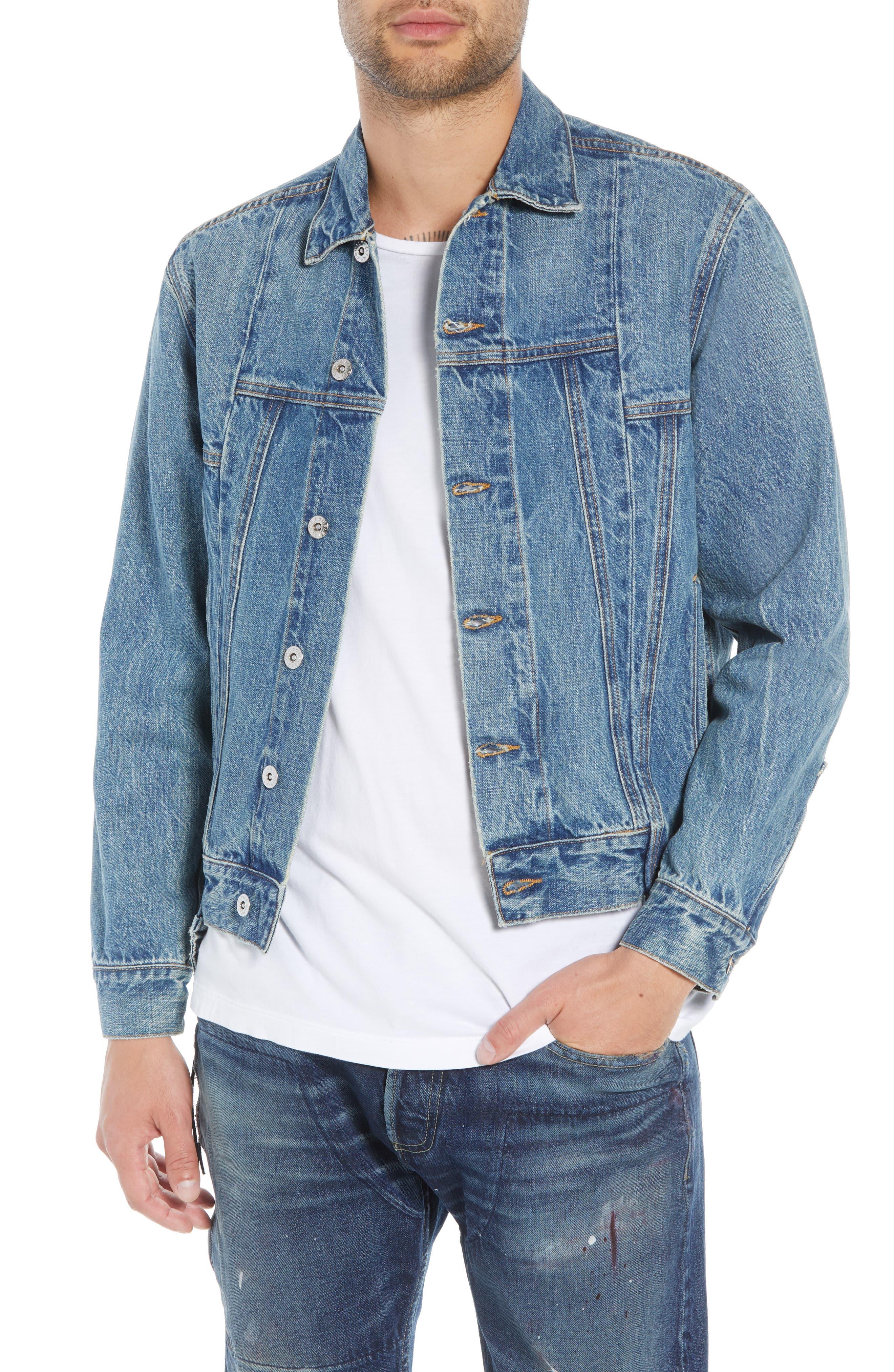 Slim Fit Denim Jacket,                             Main thumbnail 1, color,                             WASHED