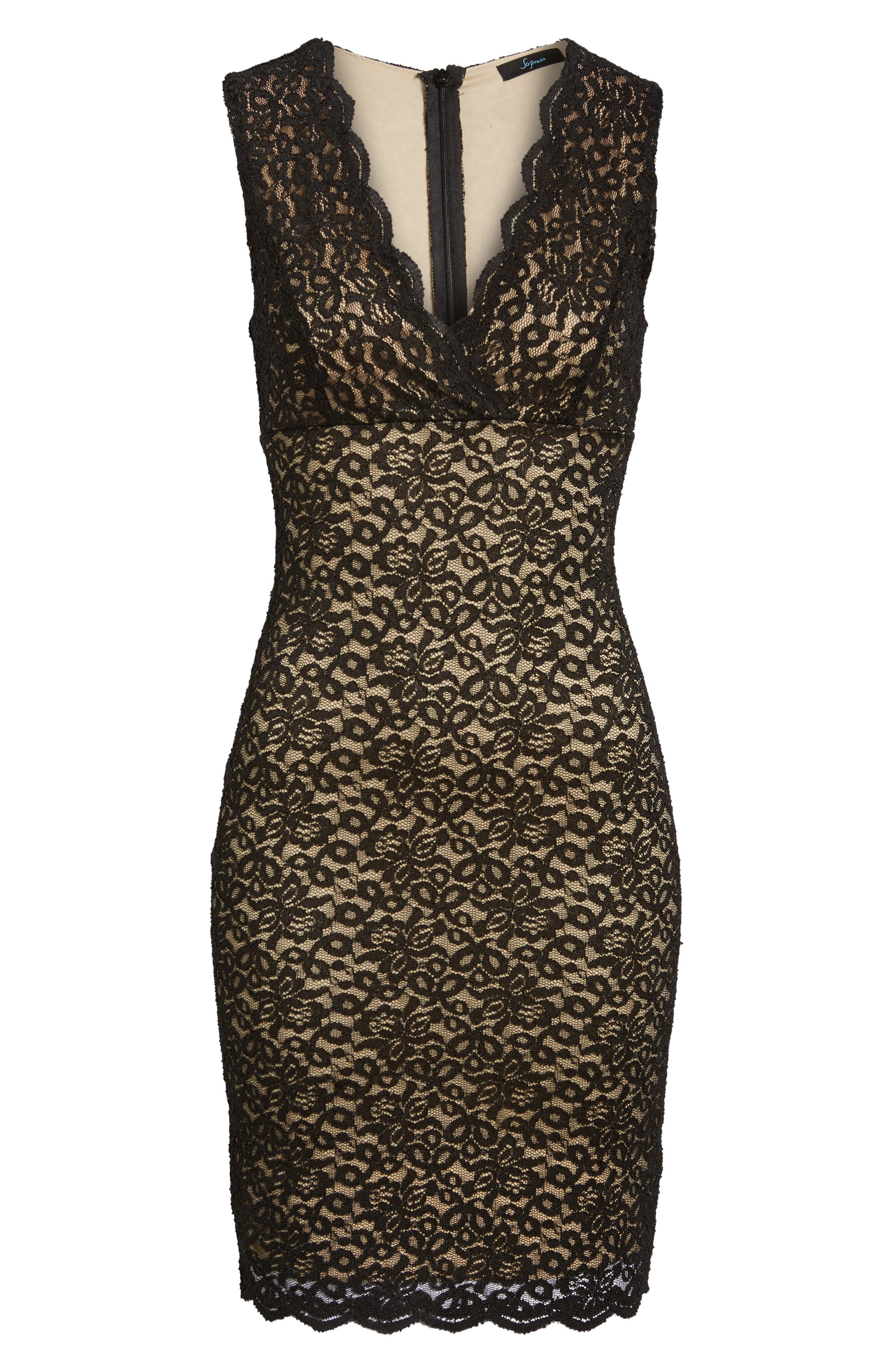 Lace Body Con Dress,                             Alternate thumbnail 6, color,                             001