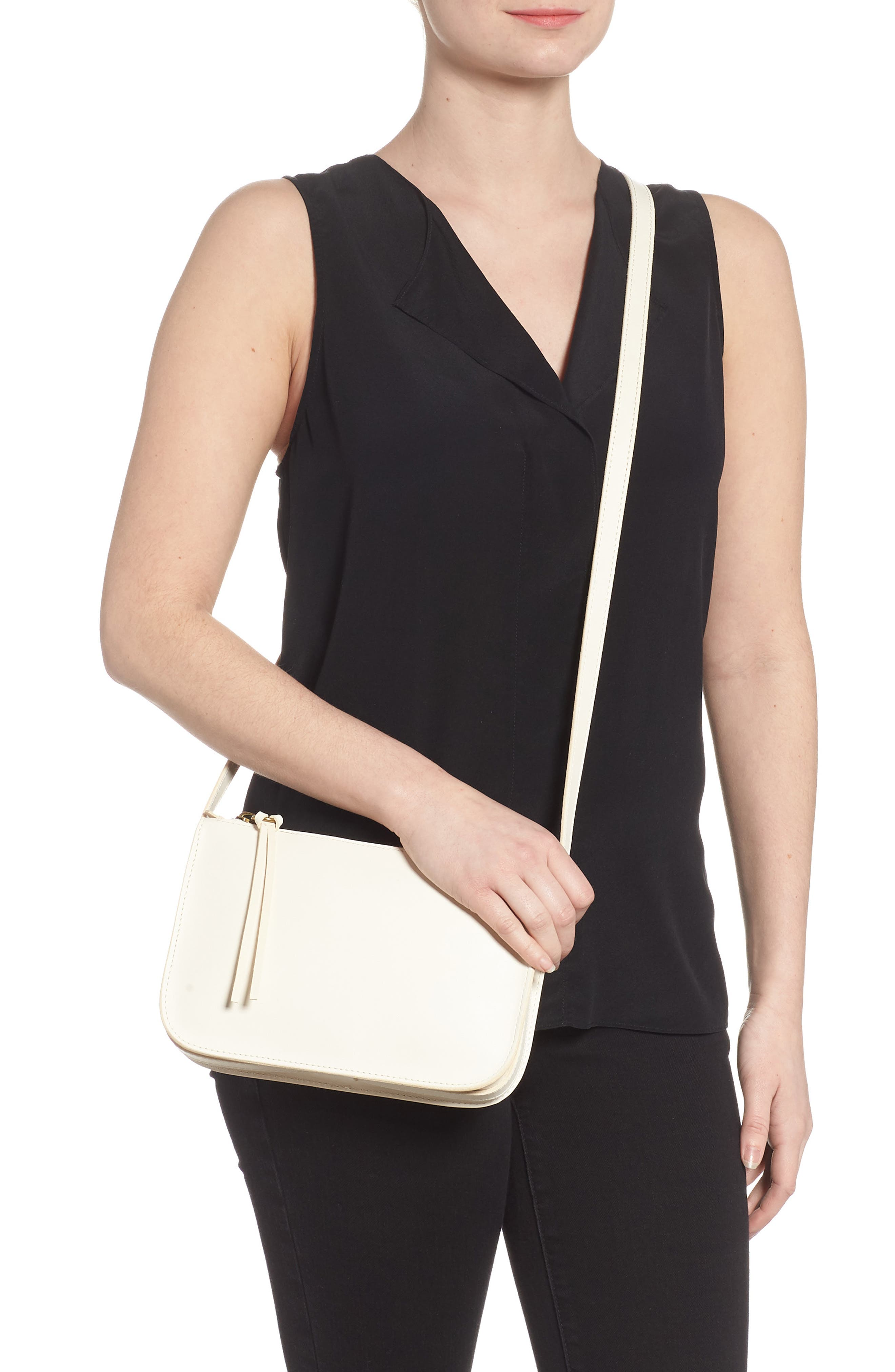 Simple Leather Crossbody Bag,                             Alternate thumbnail 2, color,                             VINTAGE CANVAS